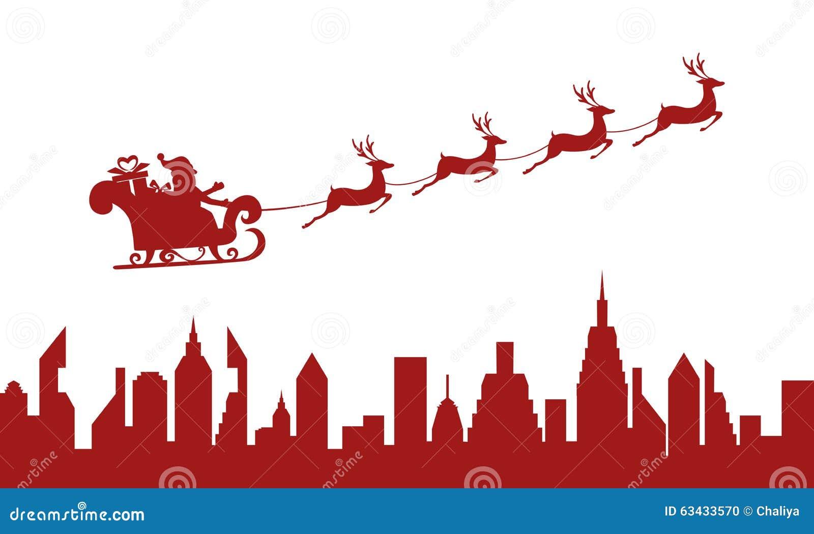 silhouette rouge le p re no l volant au dessus d 39 une ville avec le tra neau de renne. Black Bedroom Furniture Sets. Home Design Ideas