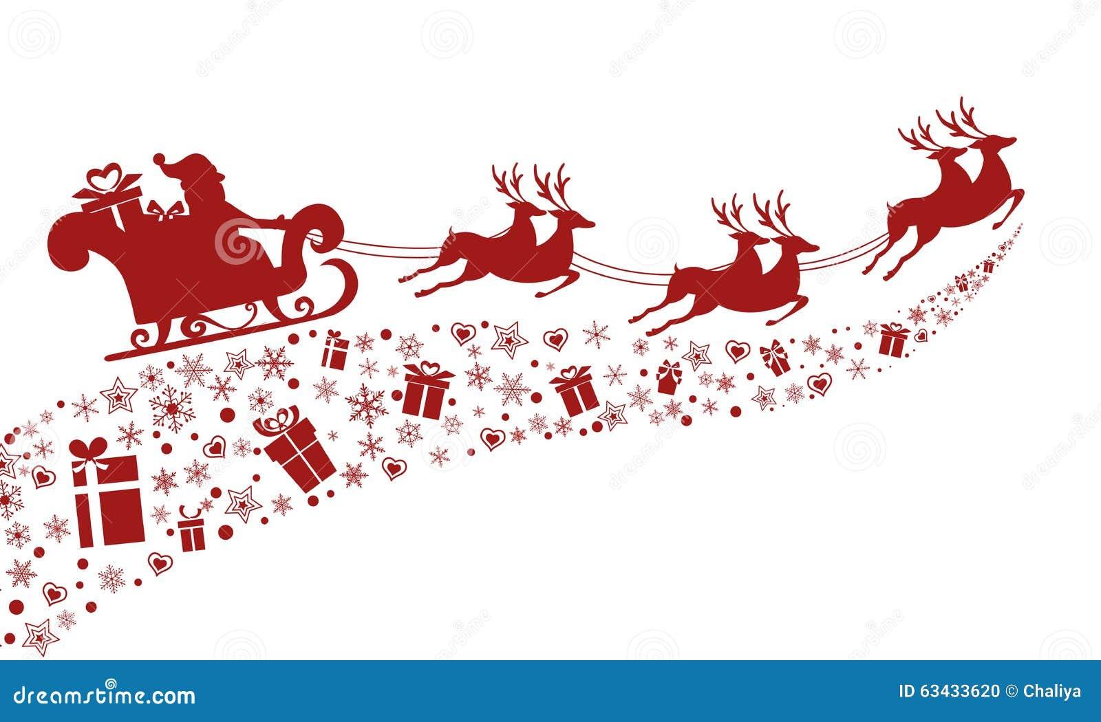Silhouette Rouge Vol Du Père Noël Avec Le Traîneau De Renne