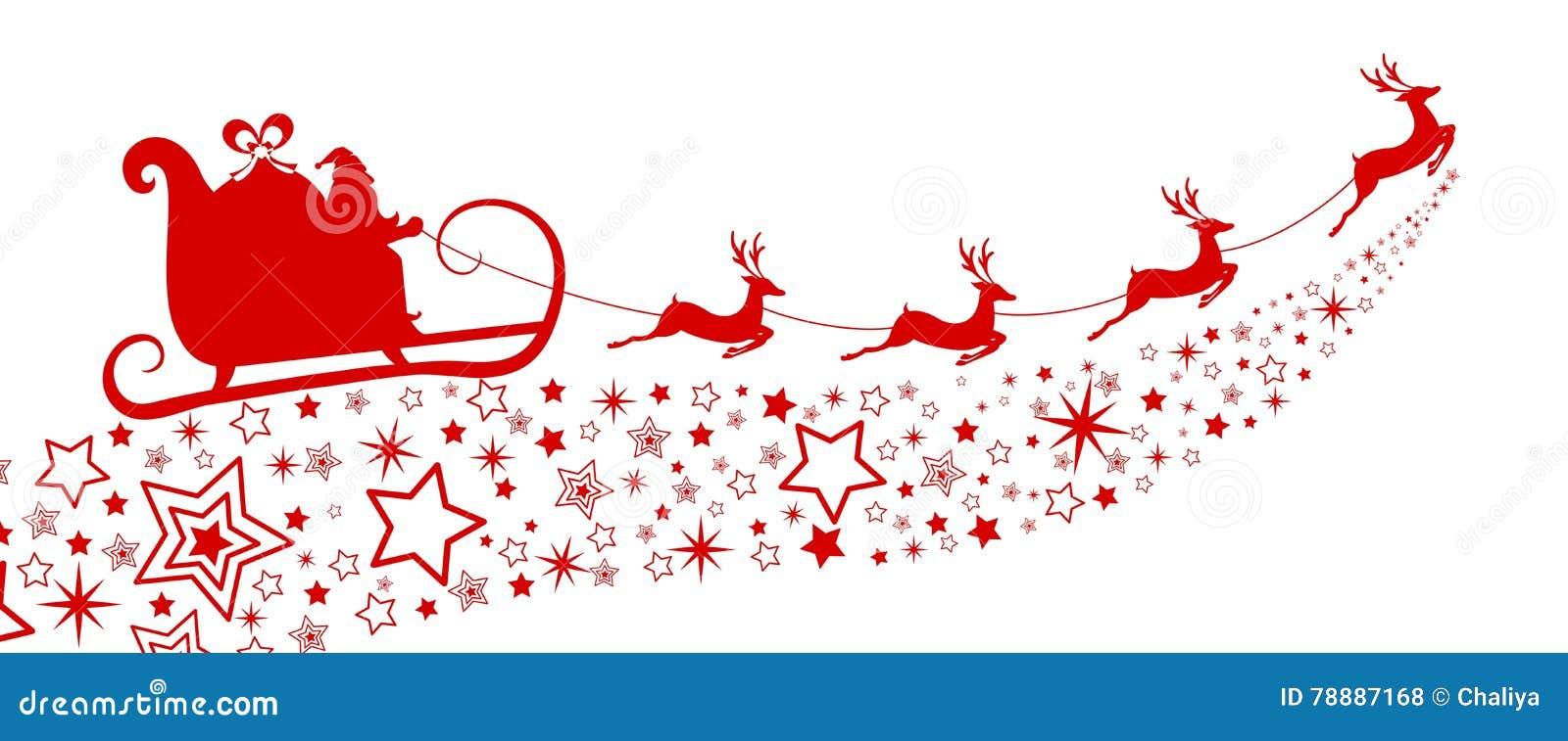 silhouette rouge vol du p re no l avec le tra neau de renne sur l 39 toile illustration de vecteur. Black Bedroom Furniture Sets. Home Design Ideas