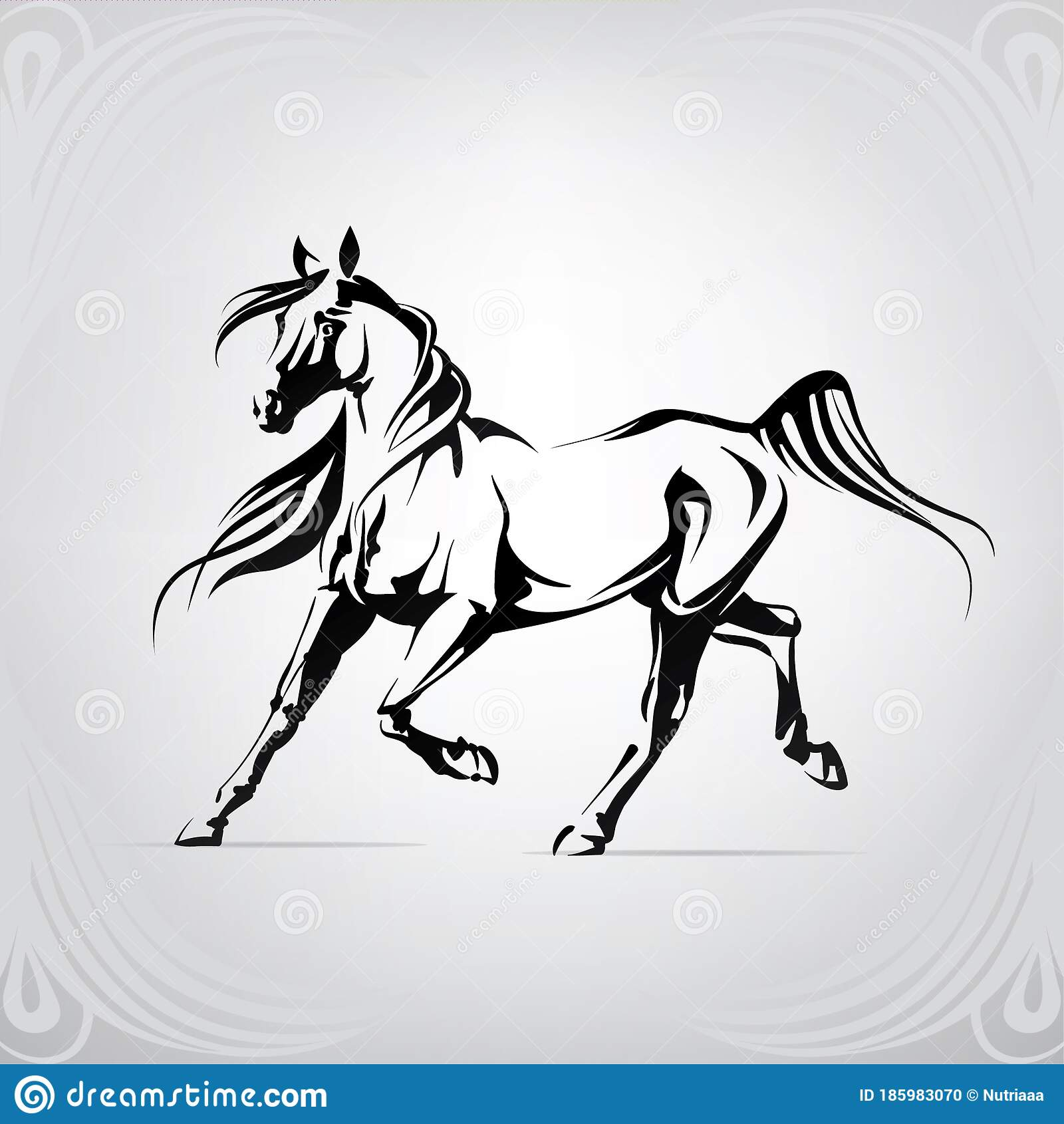 Silhouette Of The Running Horse Vector Illustration Stock Vector Illustration Of Design Wild 185983070