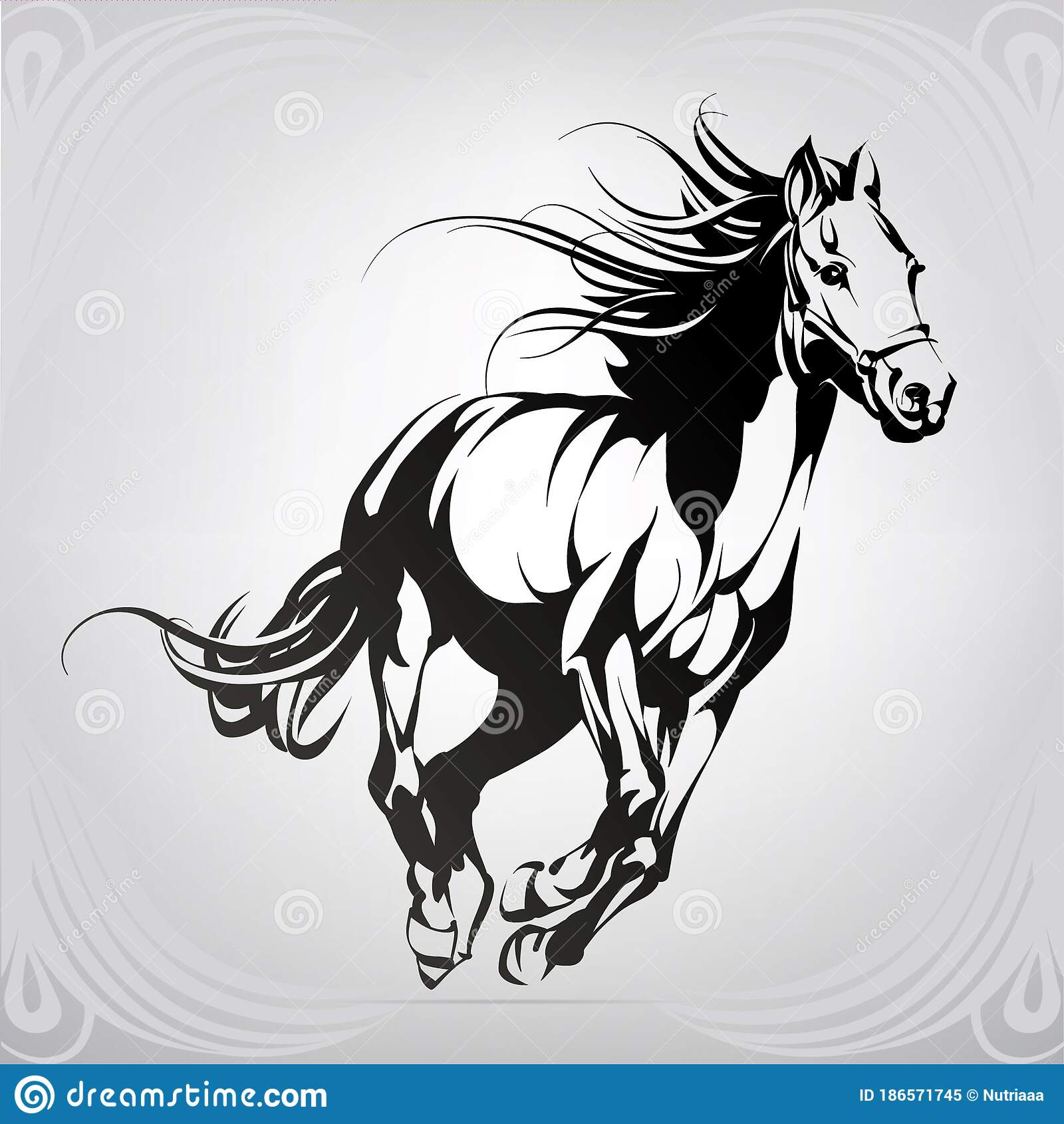 Silhouette Of The Running Horse Vector Illustration Stock Vector Illustration Of Head Sketch 186571745