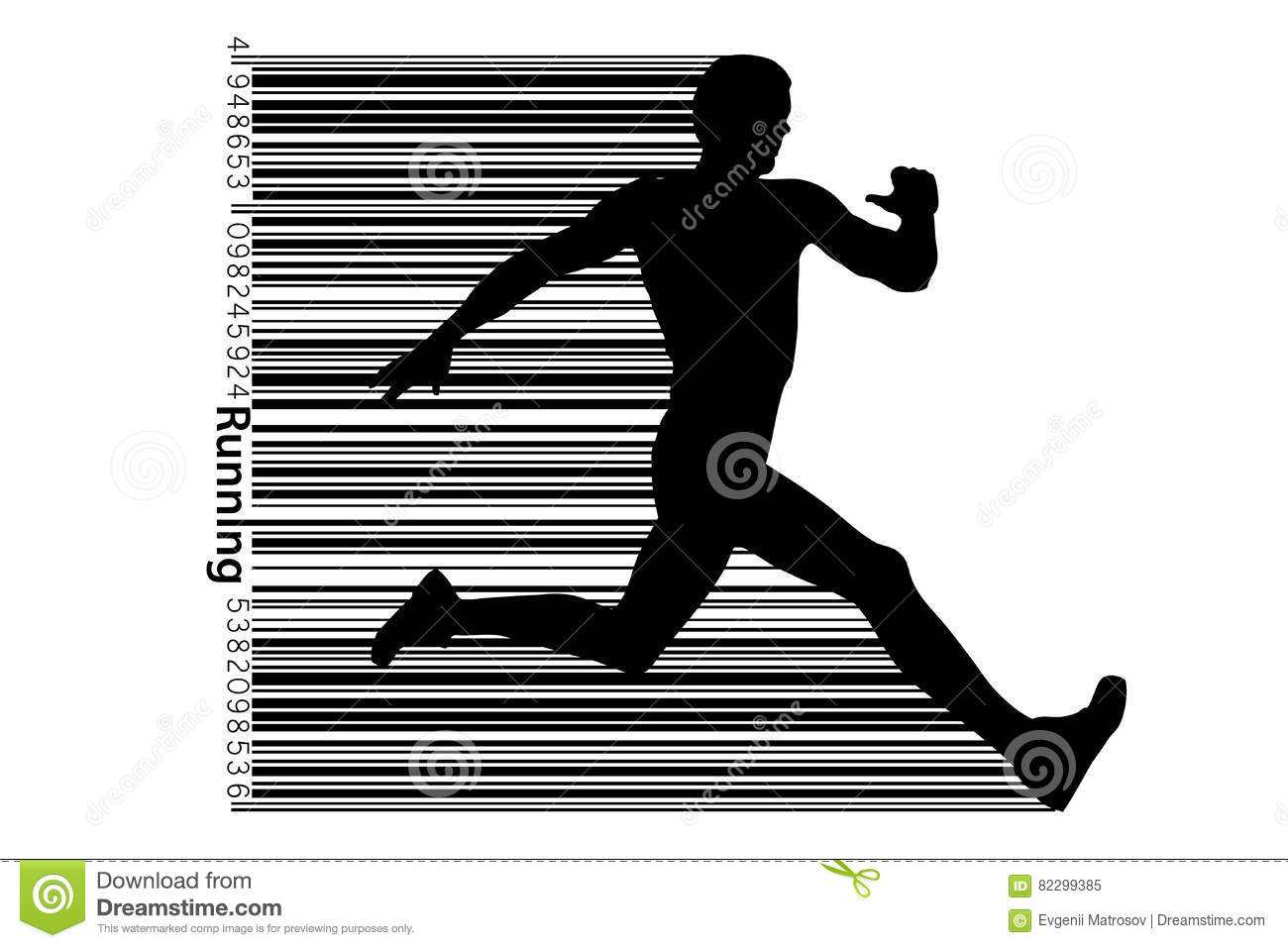 Silhouette Of A Running Man And Barcode  Stock Illustration