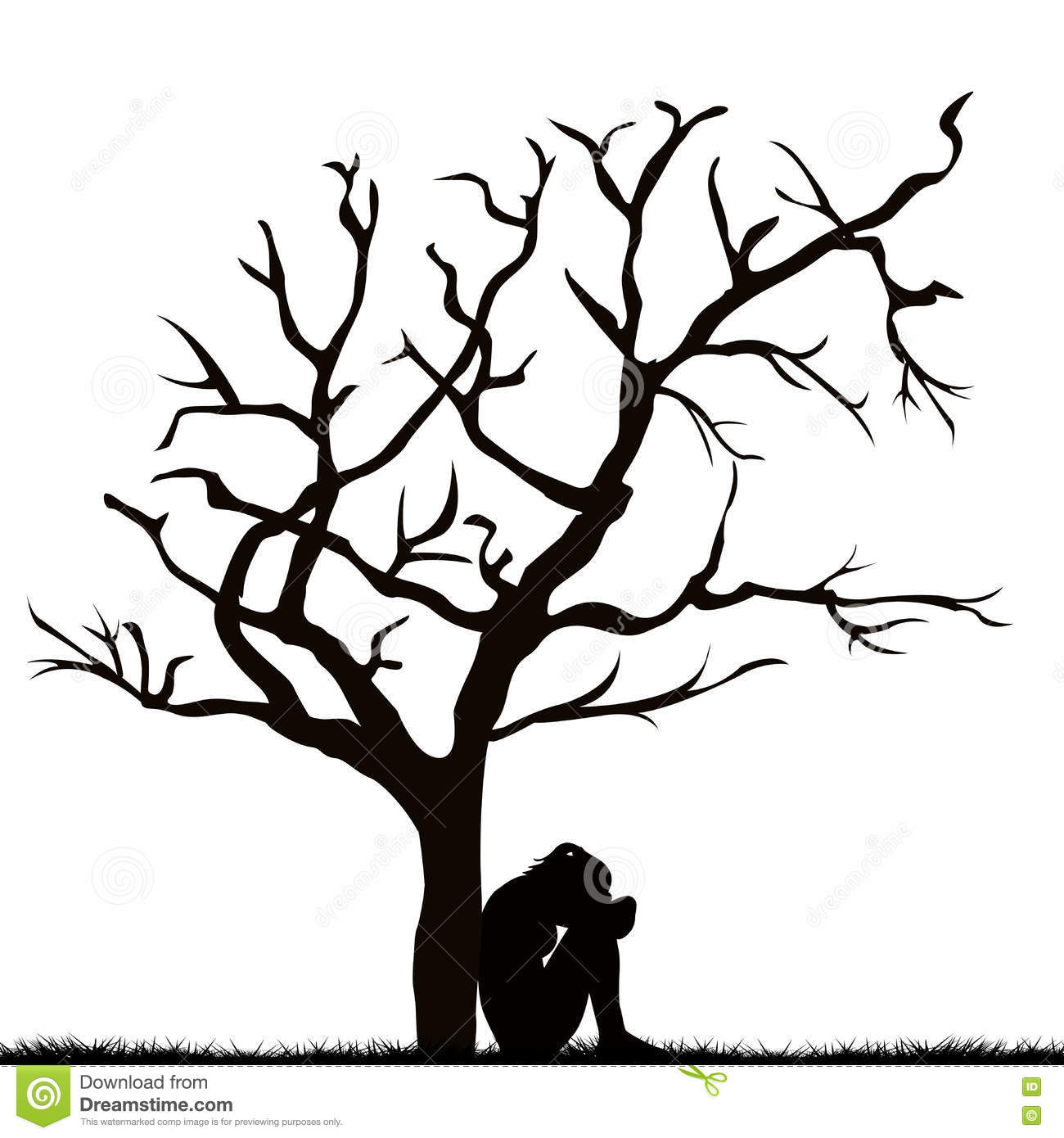 Silhouette Of A Sad Woman Under A Leafless Tree Stock Vector