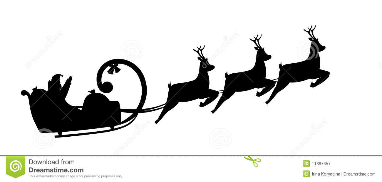 ... Free Stock Photography: Silhouette Santa Claus drives in a sleigh