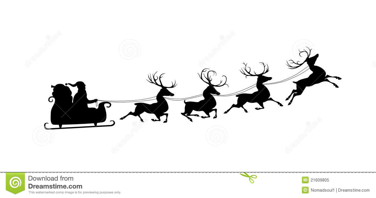 Silhouette Of Santa And His Reindeers Stock Illustration
