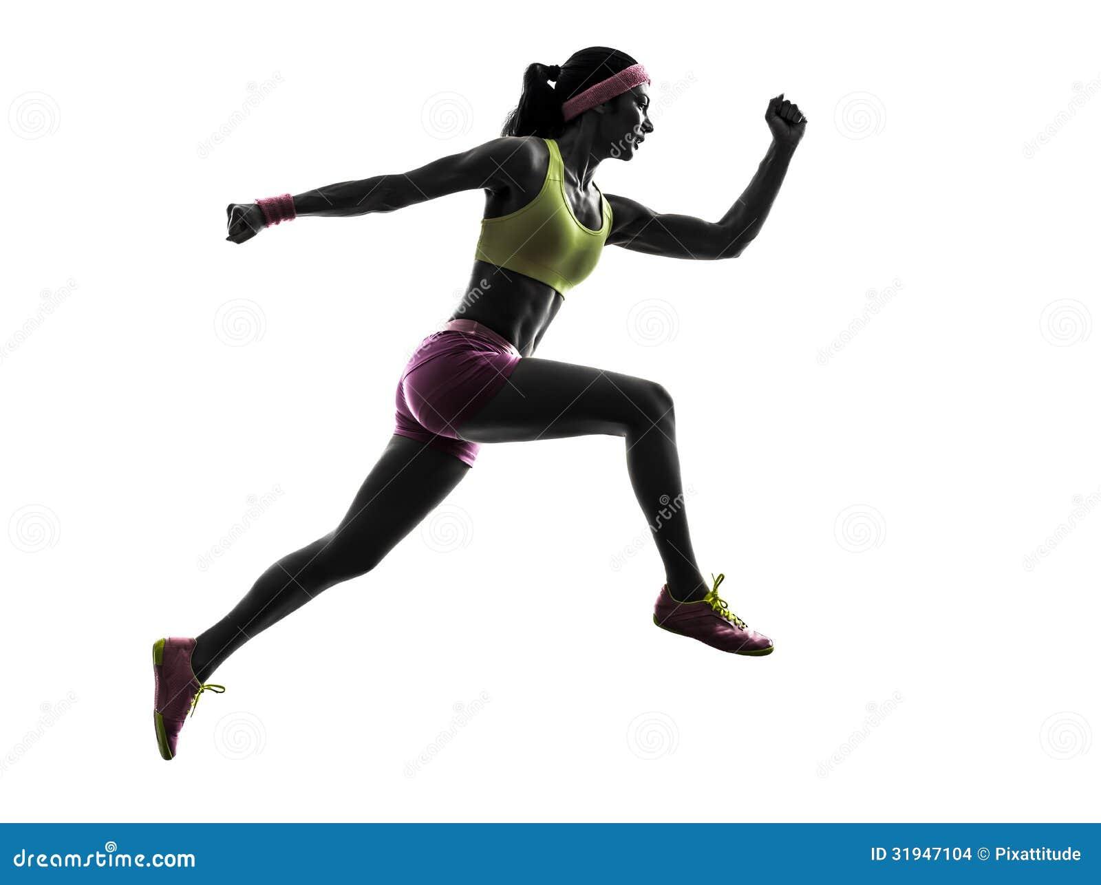 Silhouette sautante fonctionnante de coureur de femme