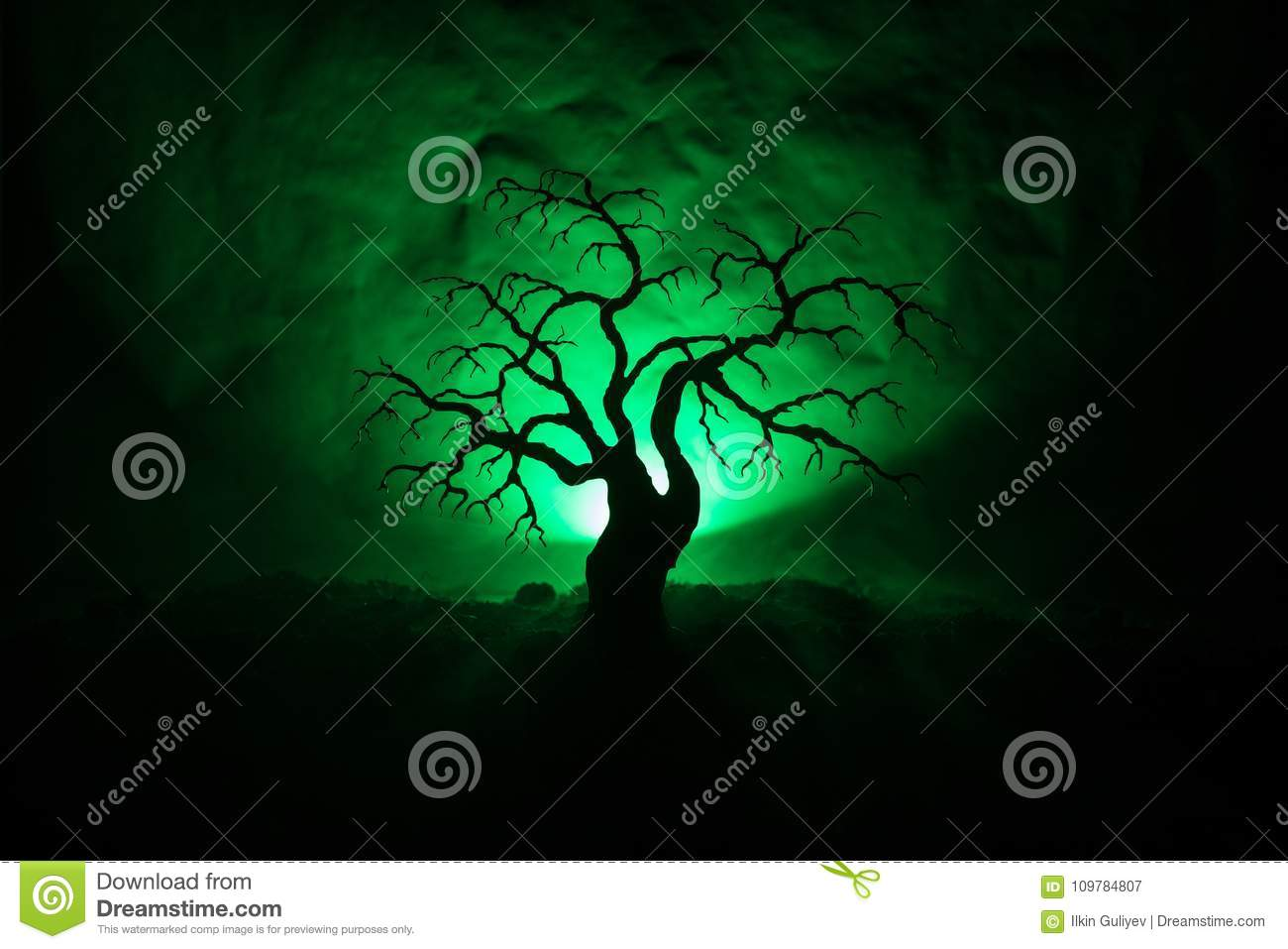 Silhouette of scary Halloween tree on dark foggy toned background with moon on back side.
