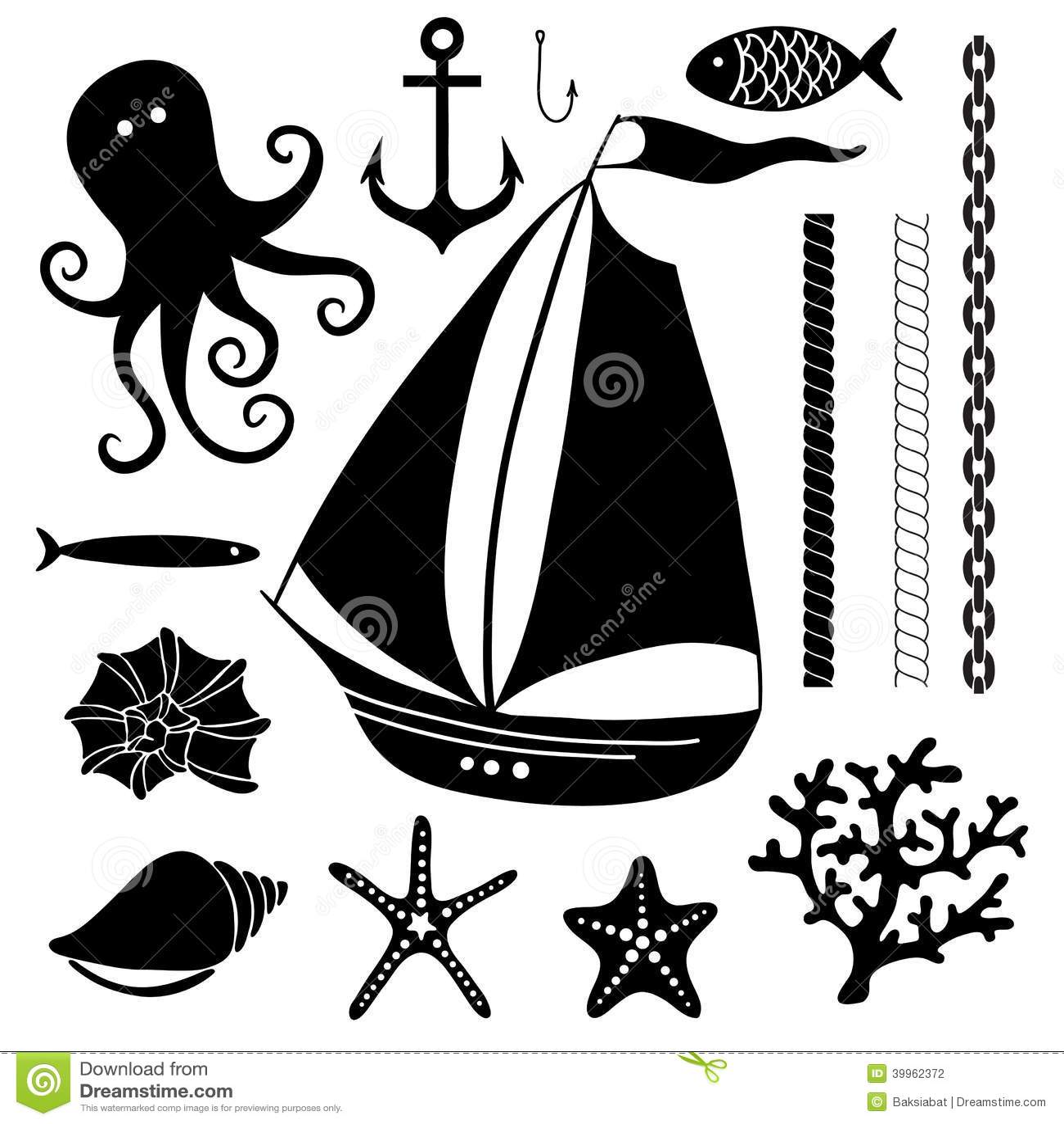 Silhouette Sea Hand Drawn Set Of Sea Symbols Stock Vector