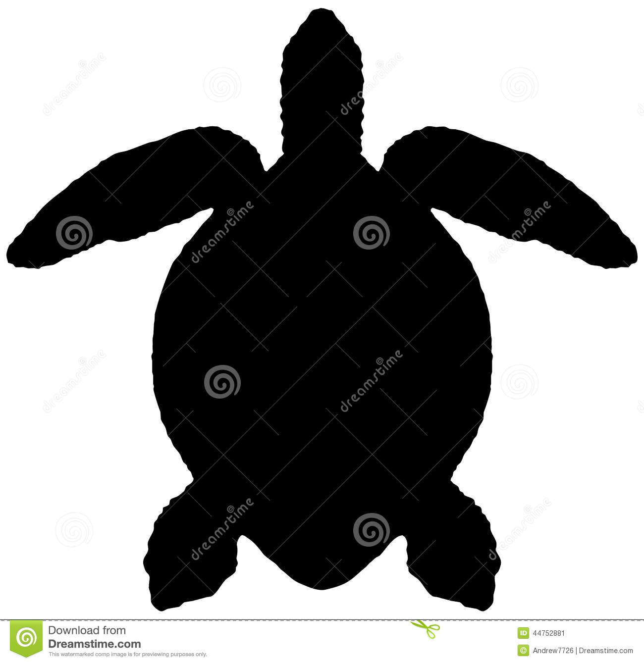 Silhouette Of The Sea Turtle Stock Illustration - Image: 44752881
