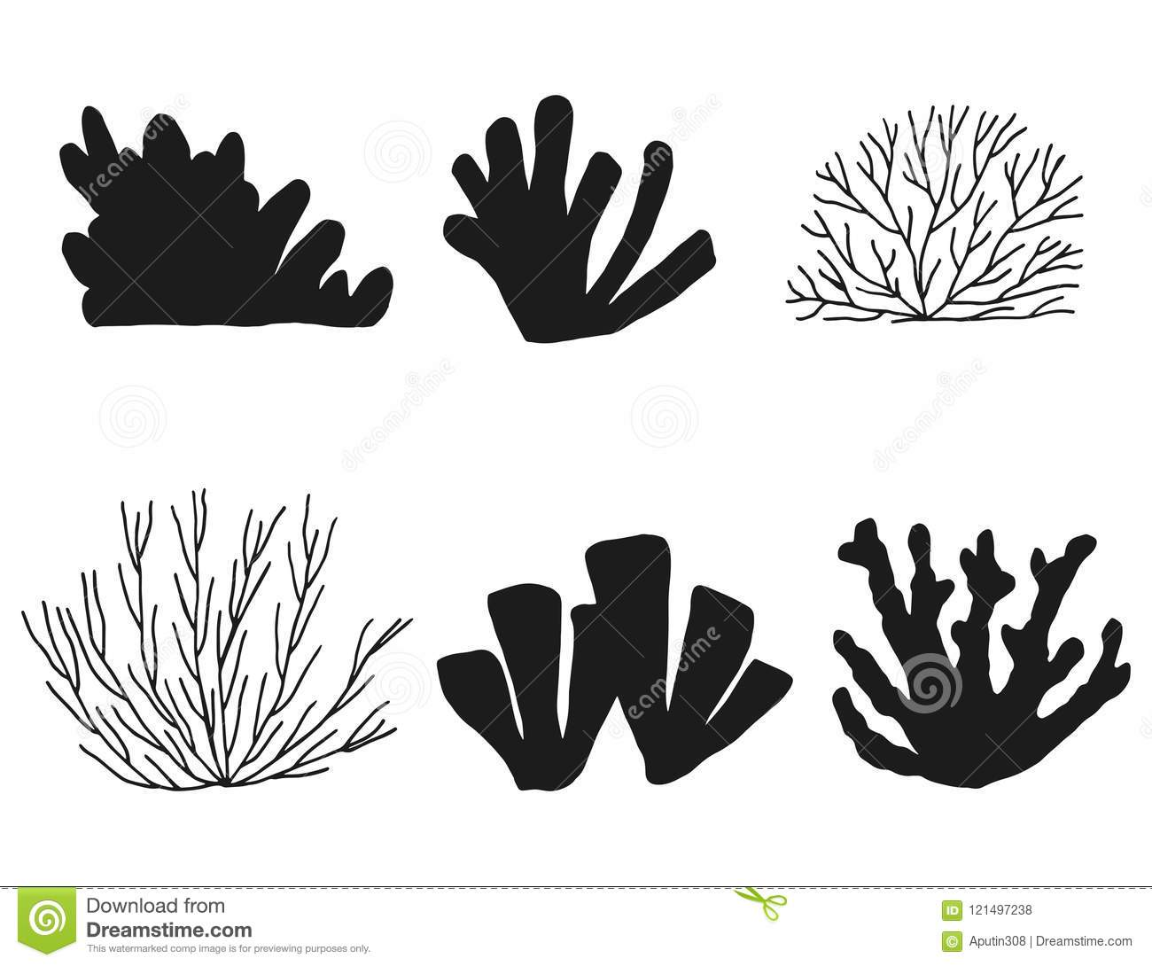 Silhouette Of Seaweed And Coral Set. Isolated On White