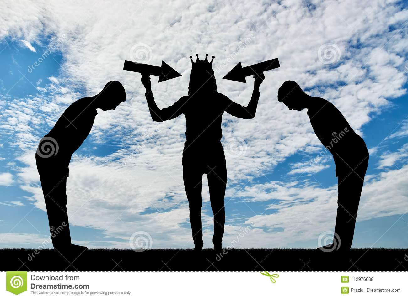 Silhouette of a selfish woman with a crown on her head trying to attract attention