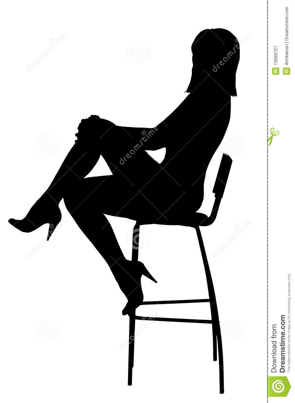 Silhouette Of The Sexual Woman Sitting On Stool Stock