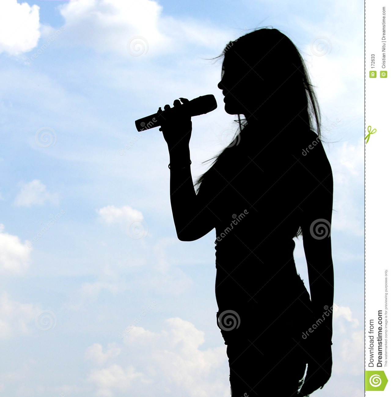 Silhouette Of Singing Girl