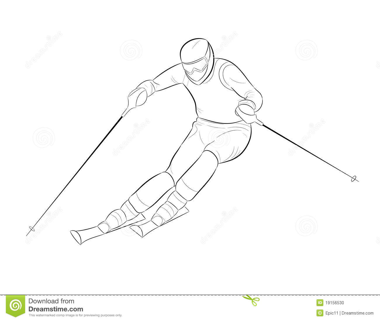 Vector silhouette of a skier rolls coming from the mountain.
