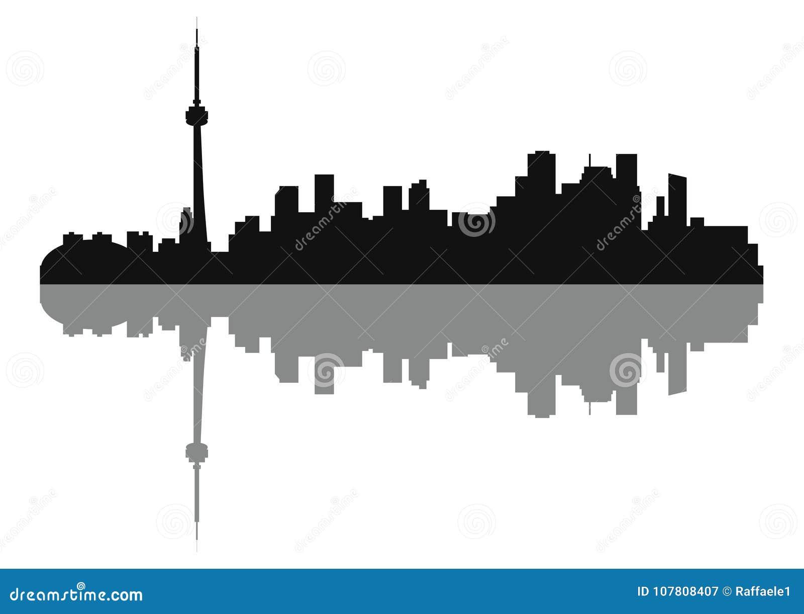 Silhouette of Skyline Toronto City