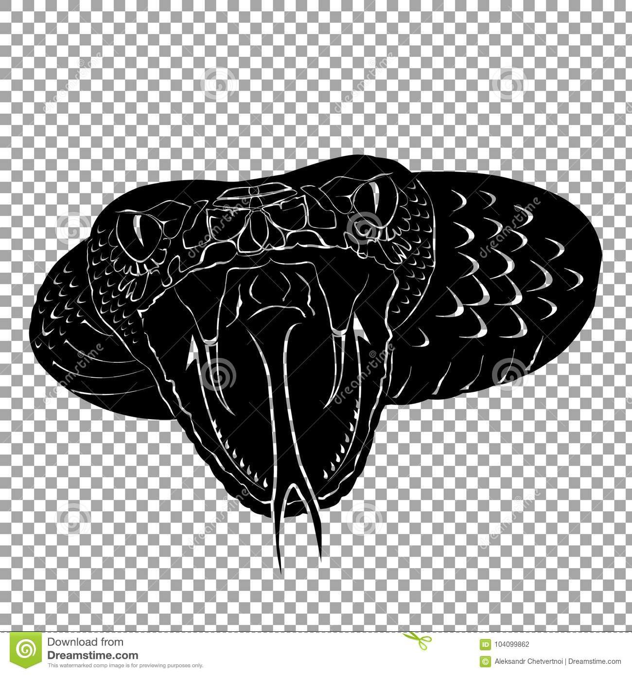 Silhouette Snake Cobra Tattoo Isolate On Transparent Background Symbol Of The Medicine Black Icon