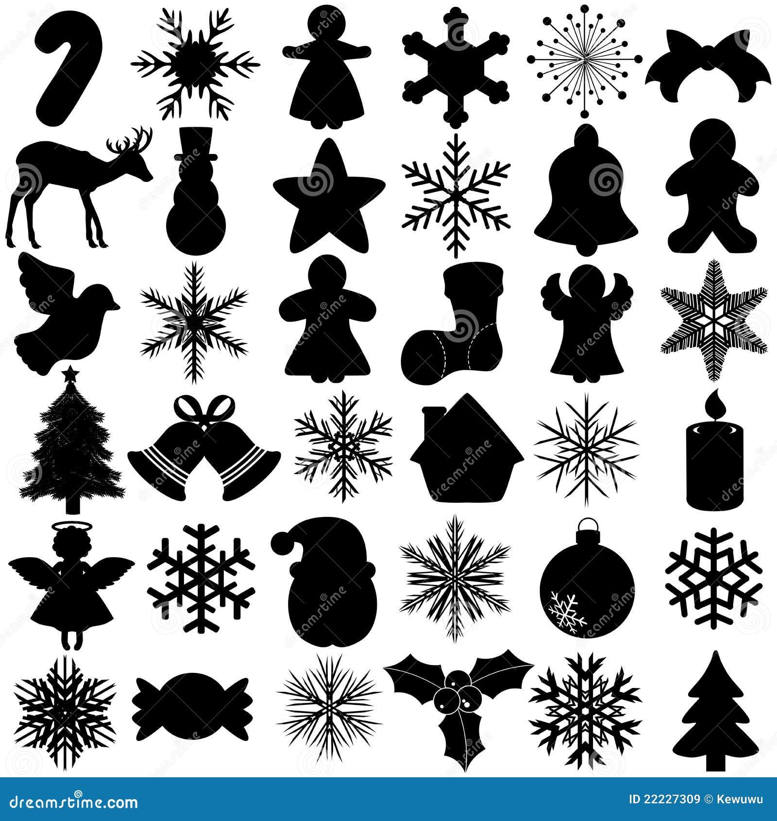 Silhouette of Snowflake Christmas Festival symbol