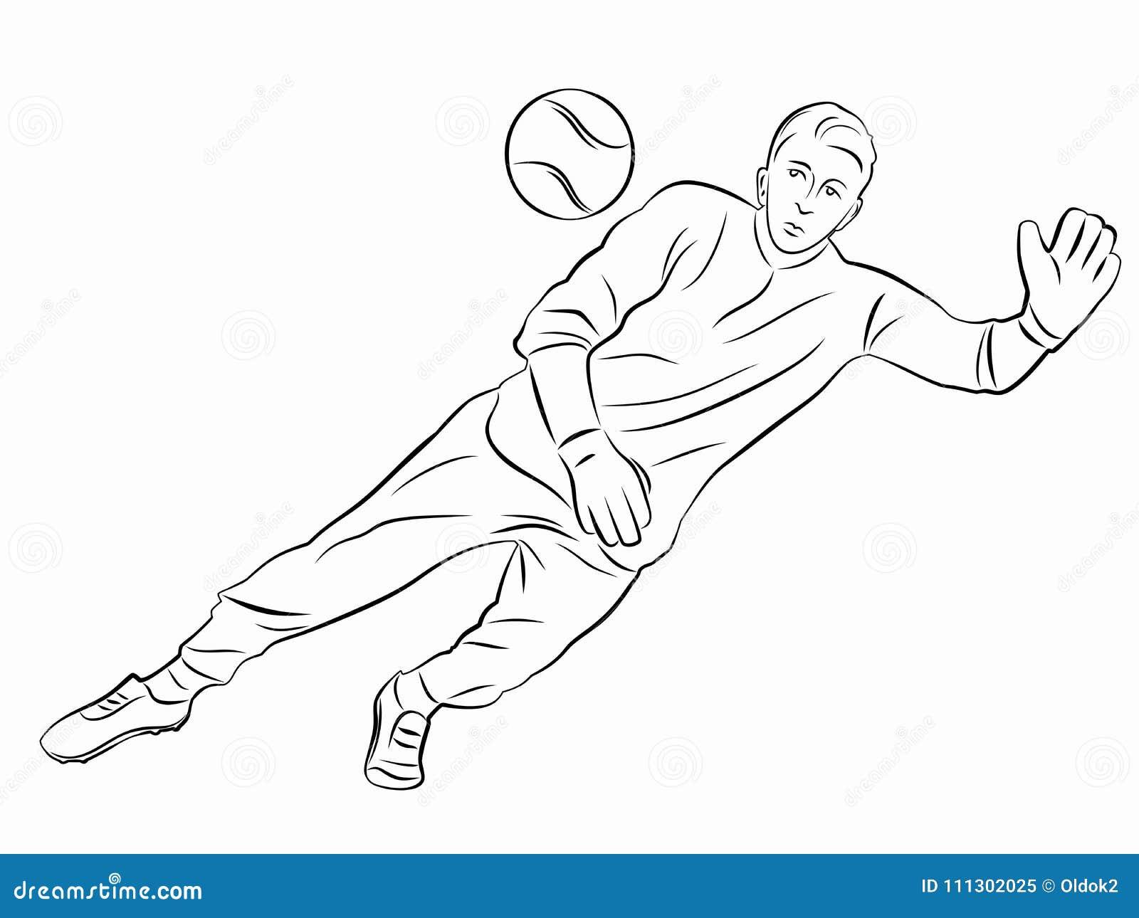 Silhouette Of Soccer Goalie, Vector Draw Stock Vector - Illustration