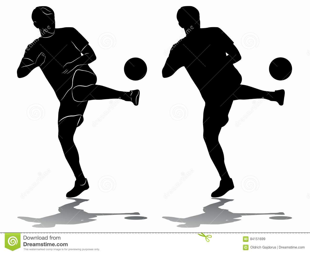 Silhouette Of Soccer Player Vector Draw Stock Vector Illustration