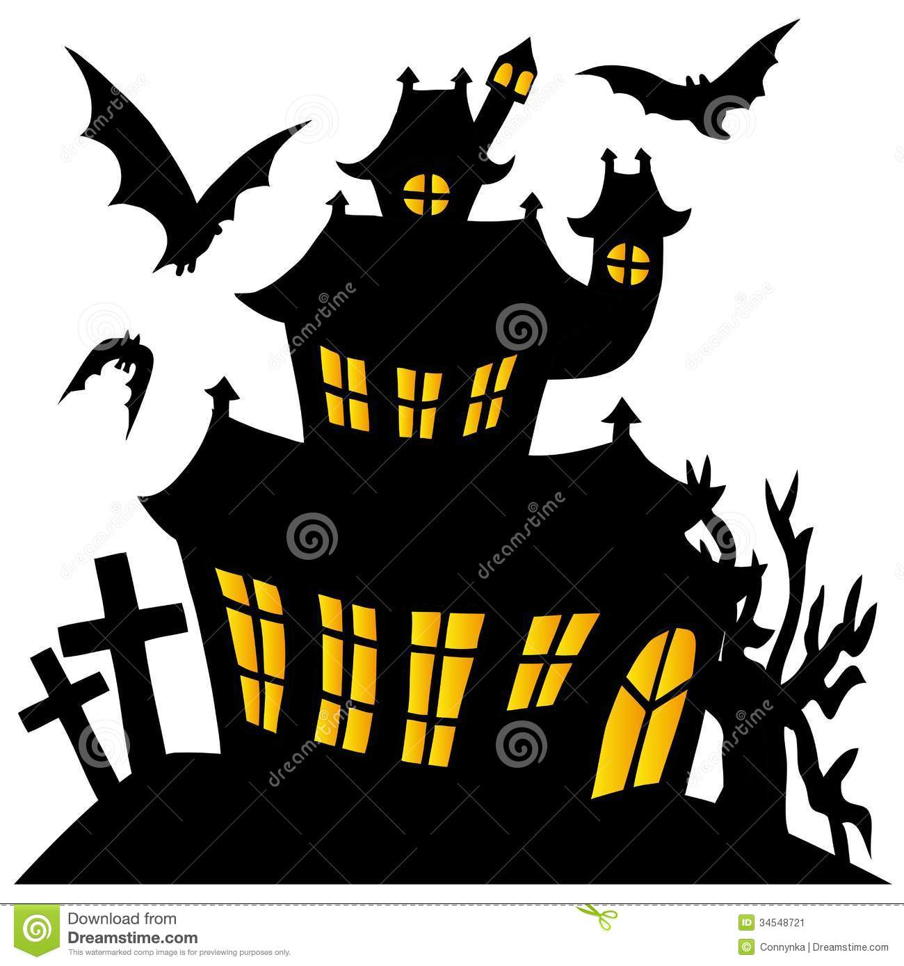 Silhouette Spooky House 01 Stock Image - Image: 34548721
