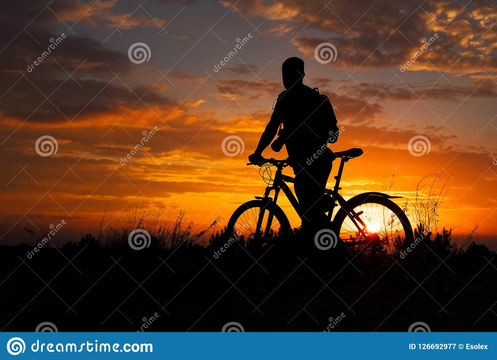 Silhouette of sports person cycling on the meadow