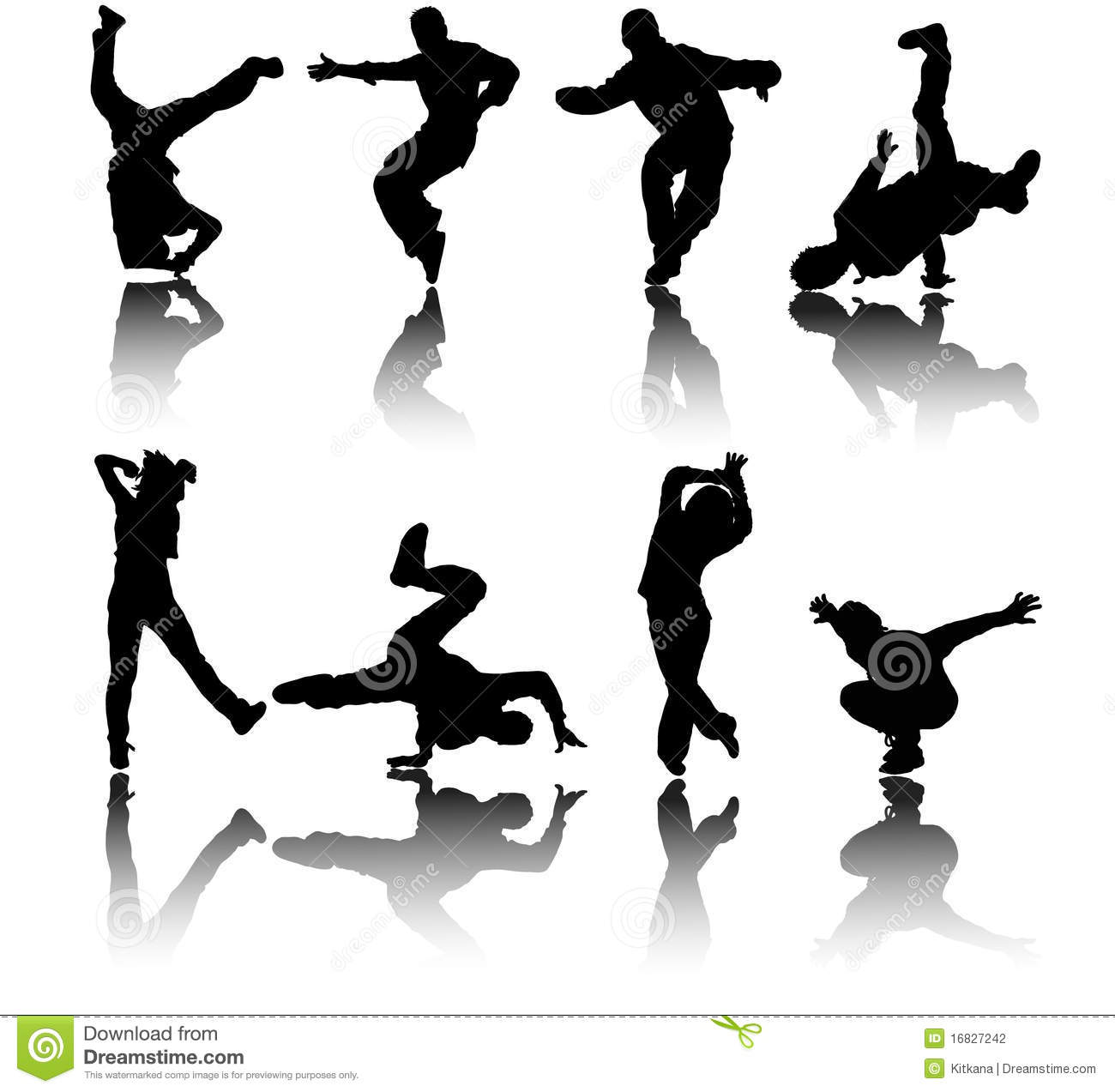 Silhouette Street Dancers Vector Stock Photography Image