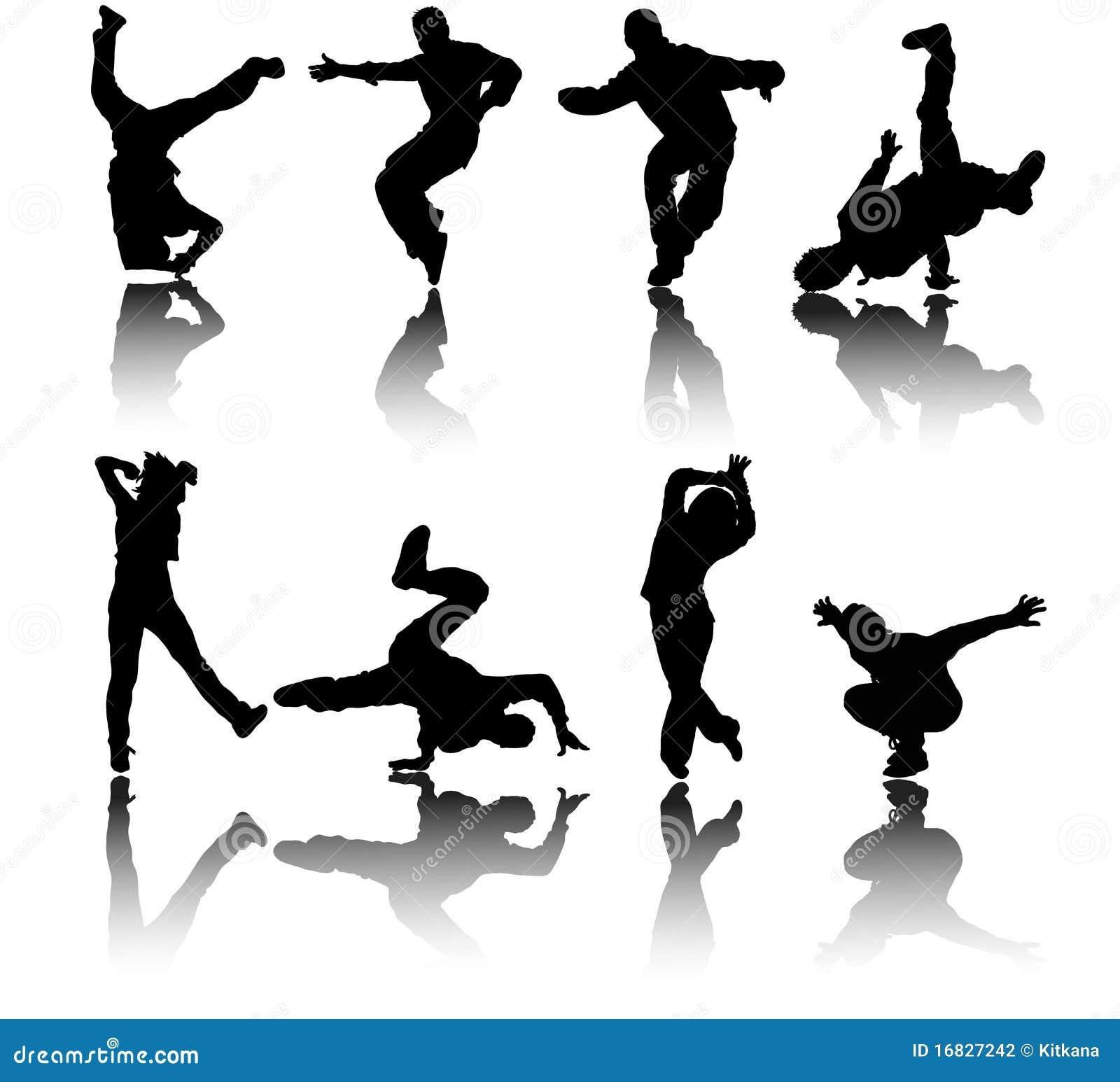Silhouette Street Dancers Vector Stock Vector