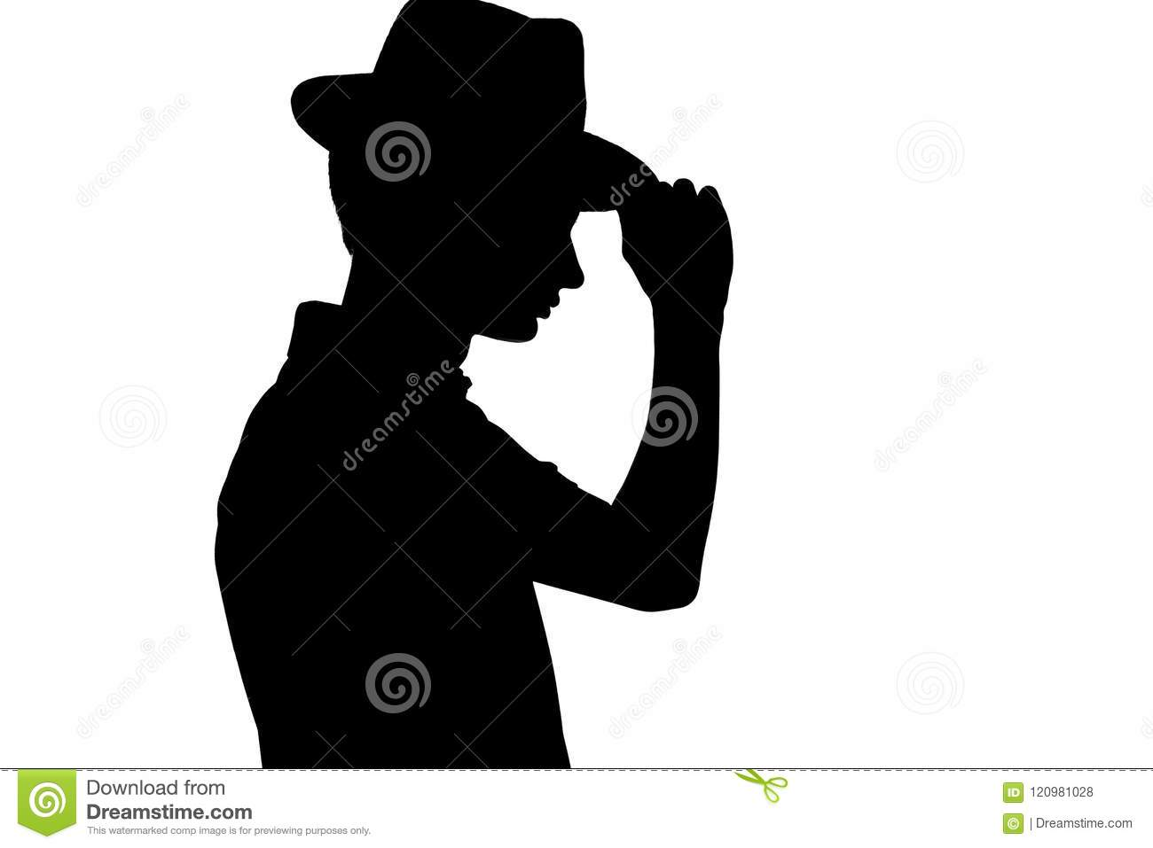 Silhouette of stylish young man in business hat, profile of unrecognizable person on white isolated background