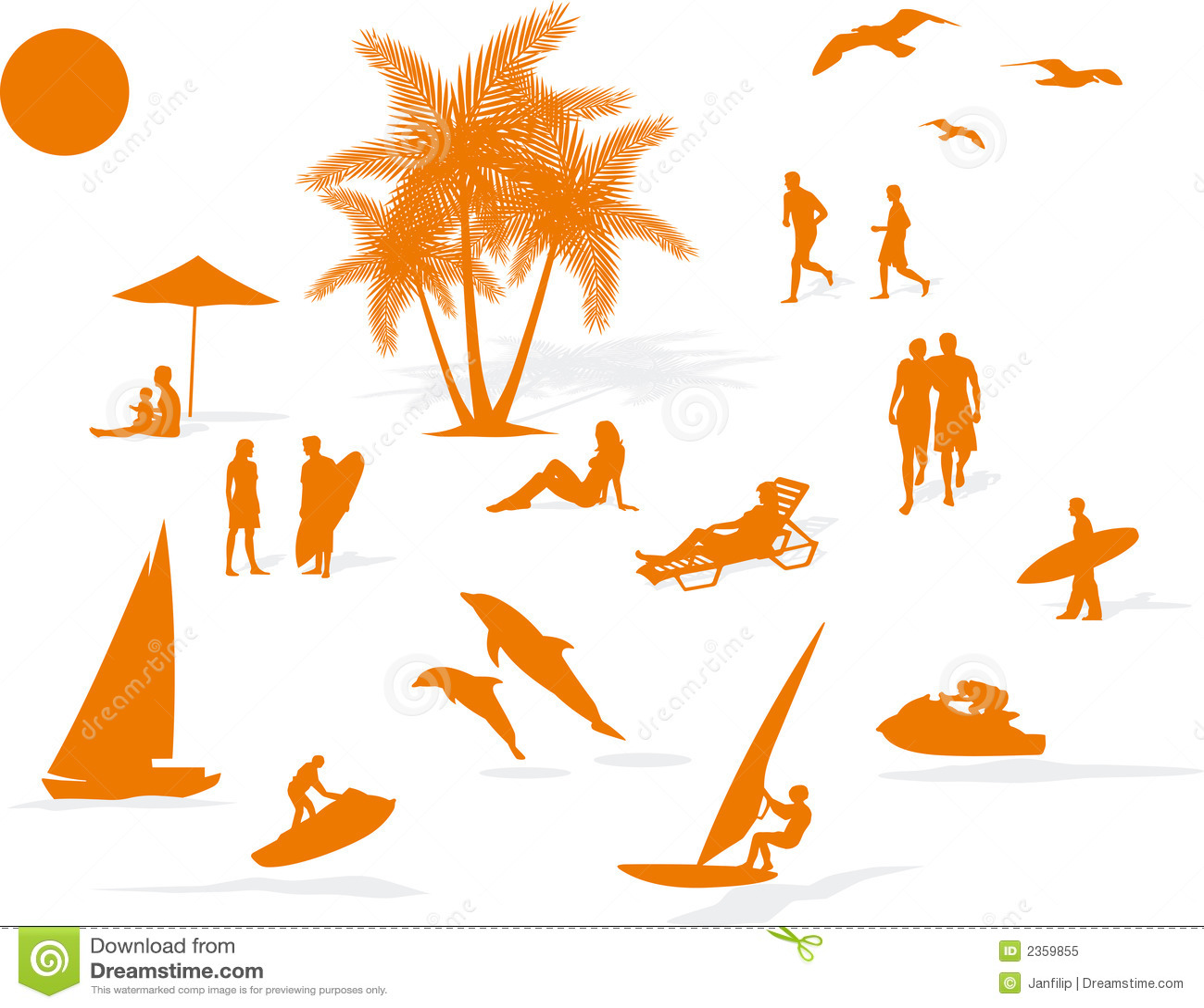 Silhouette Summer Beach Stock Vector Illustration Of Meet