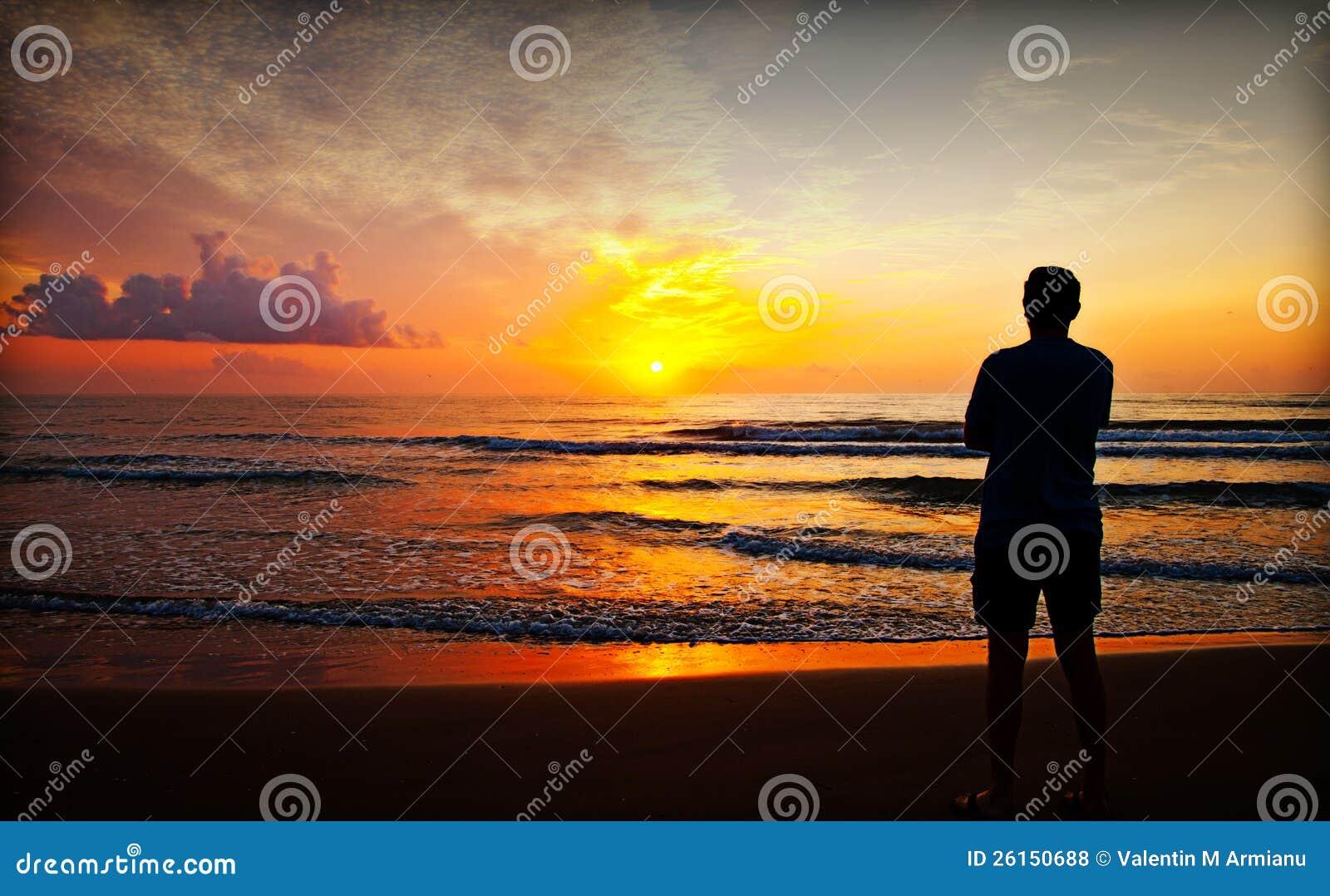 Silhouette on sunrise