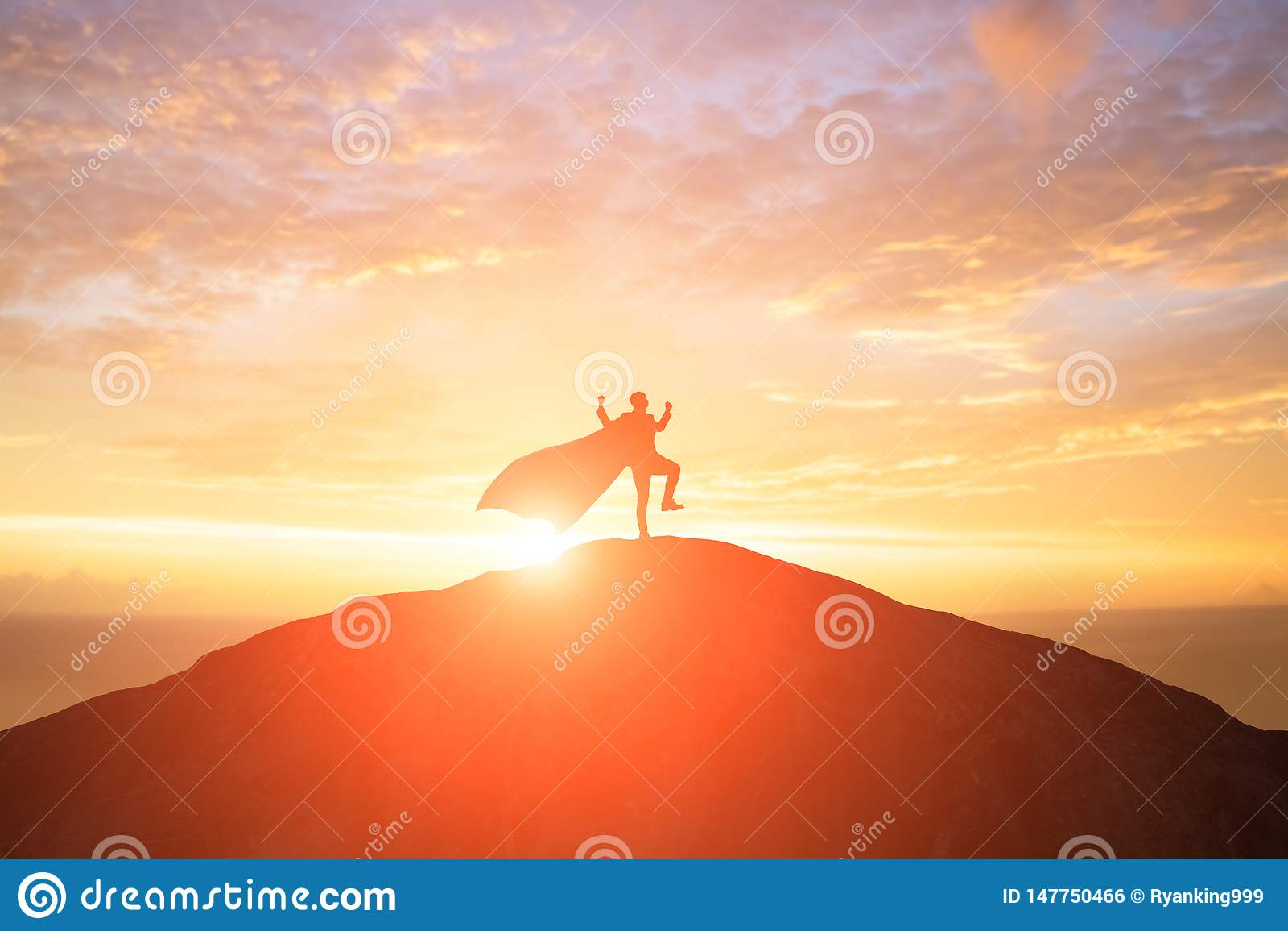 Silhouette of super businessman