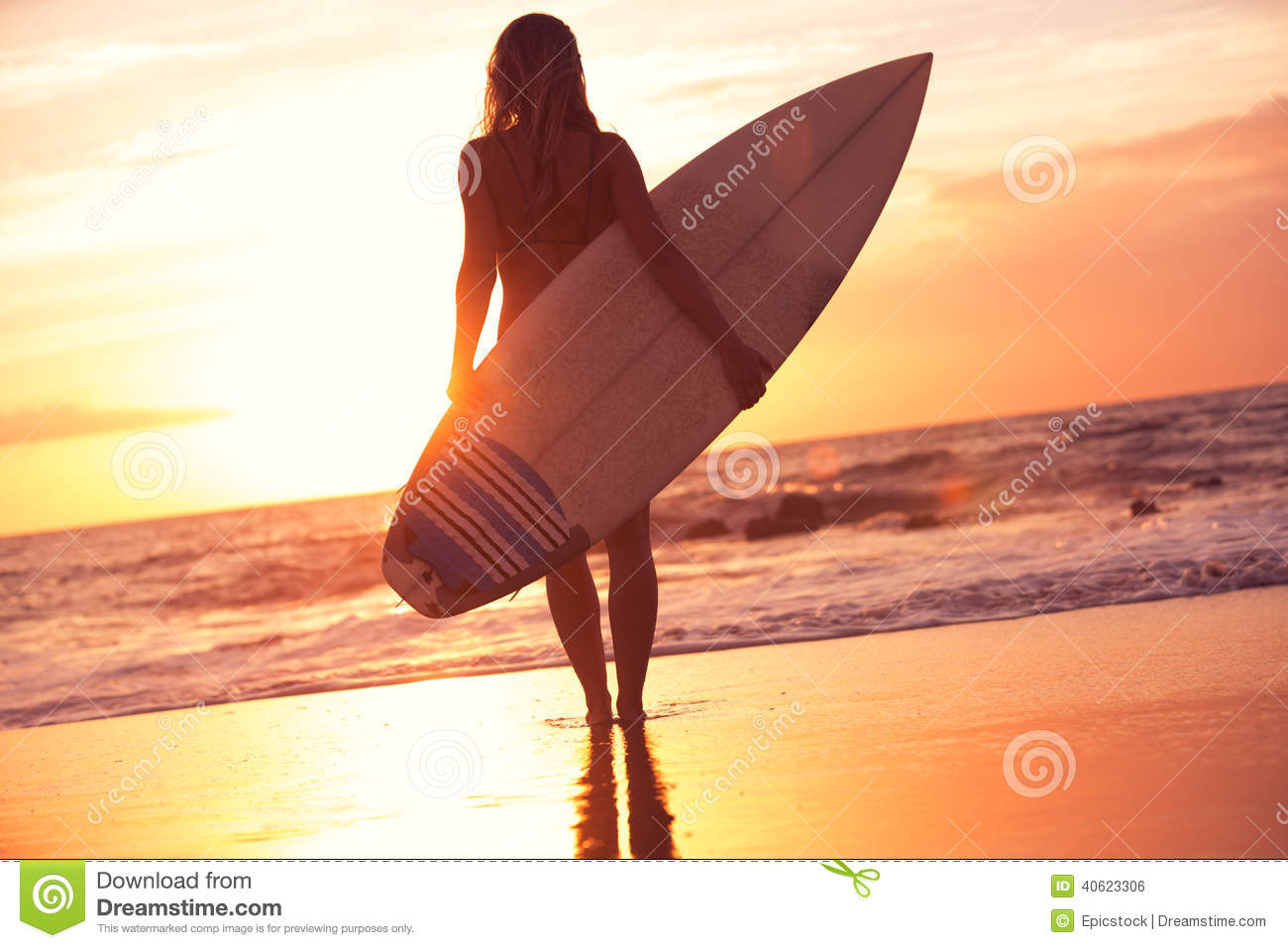 e3917f2cac Silhouette Surfer Girl On The Beach At Sunset Stock Photo - Image of ...