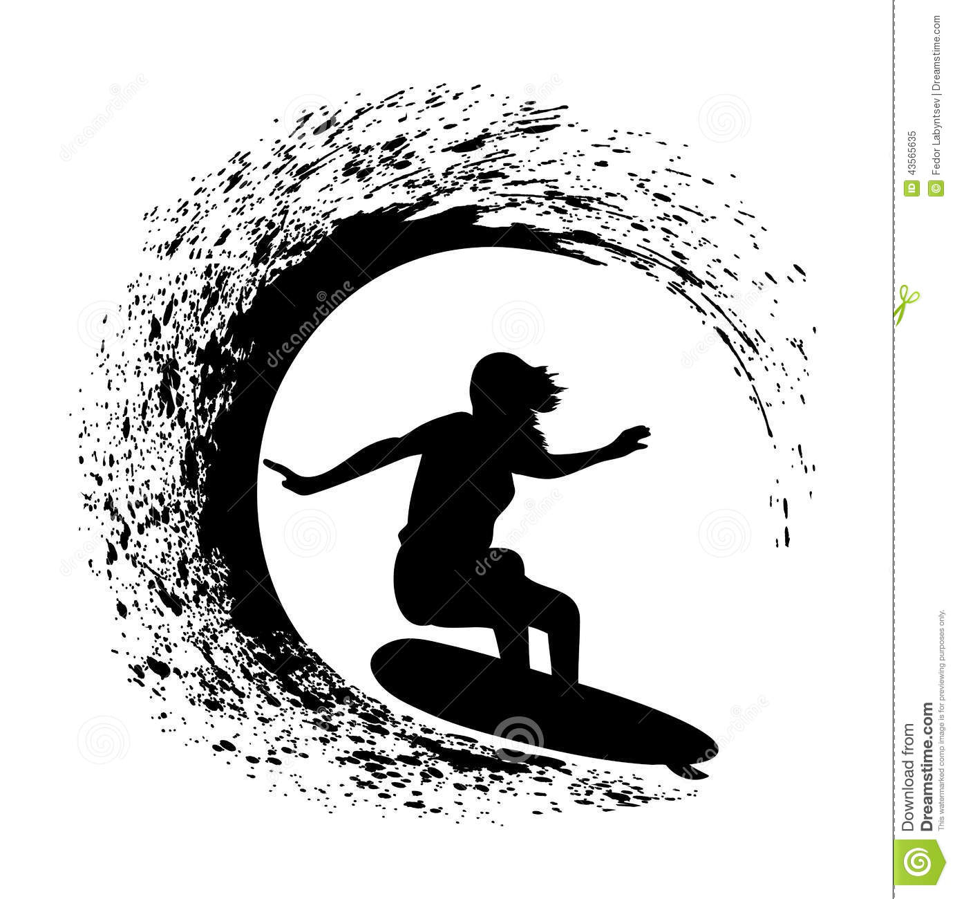 presented silhouette of the surfer on an ocean wave in style grungeOcean Silhouette Clip Art