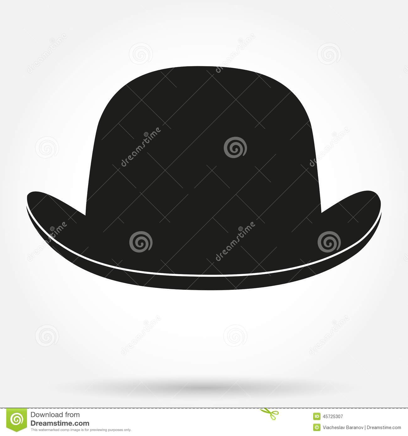 Silhouette Symbol Of Bowler Hat On A White Stock Vector ...