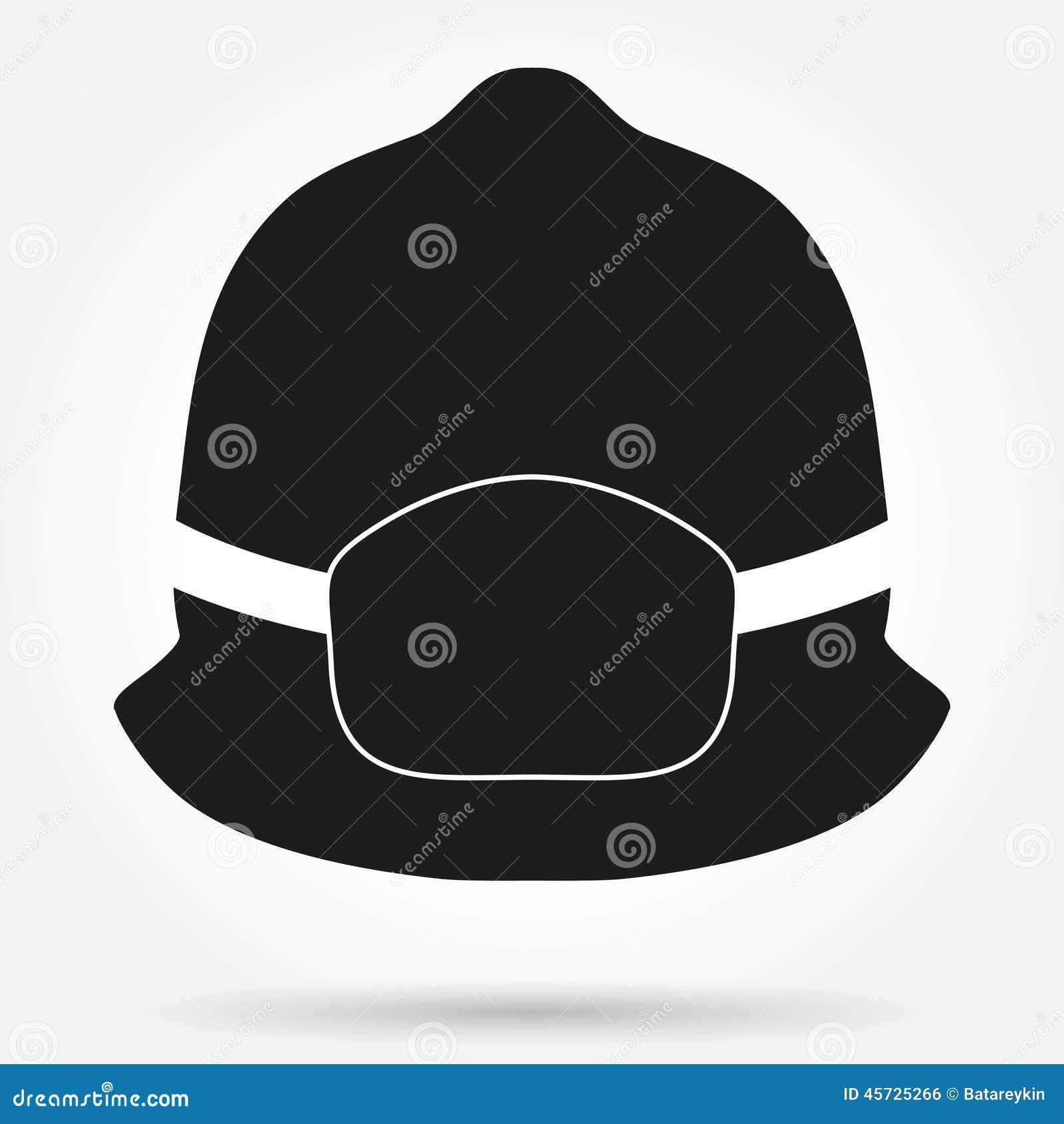 silhouette symbol of fireman helmet vector stock vector image 45725266. Black Bedroom Furniture Sets. Home Design Ideas