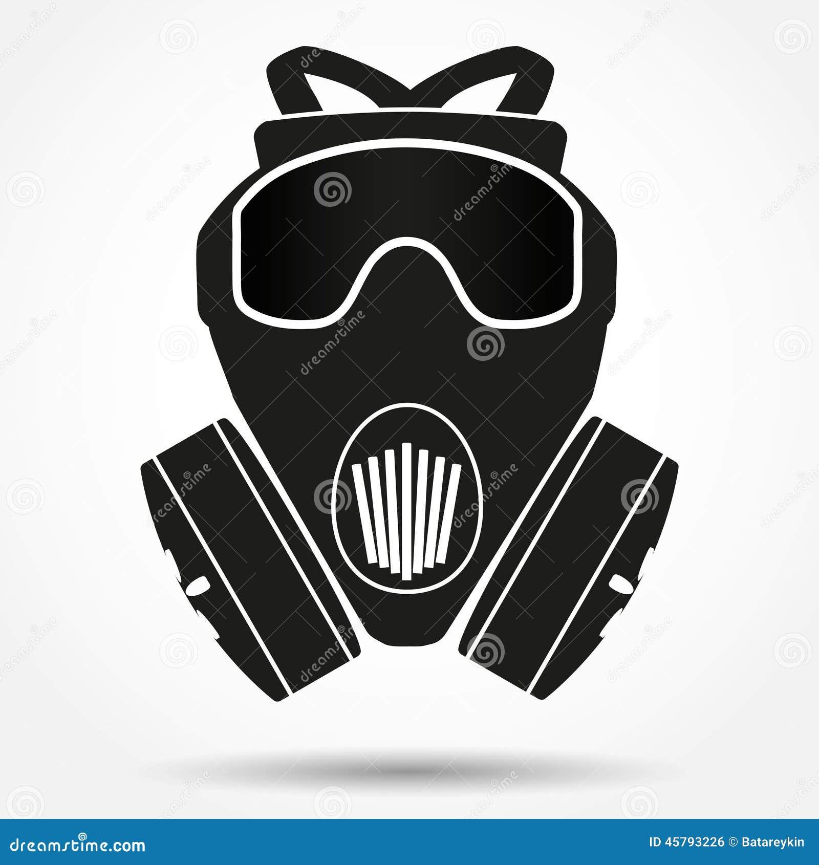 Silhouette symbol of Khaki gas mask respirator  Vector Illustration    Gas Mask Silhouette Vector
