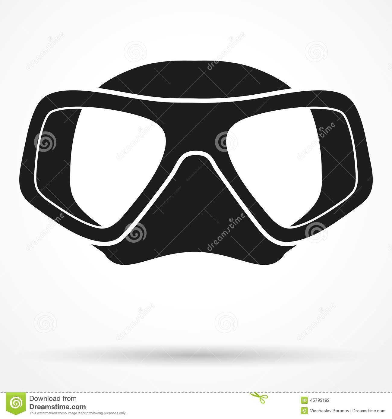 Silhouette symbol of underwater ing scuba mask stock vector image