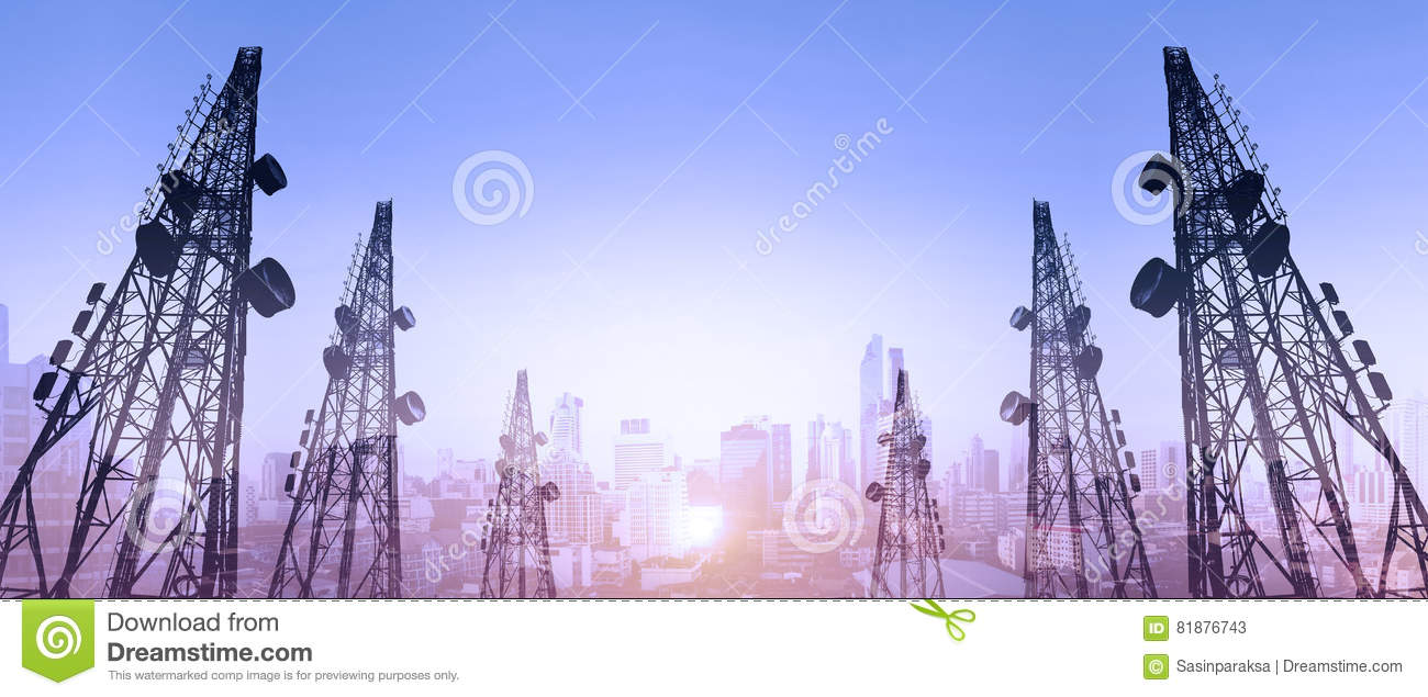 Silhouette, telecommunication towers with TV antennas and satellite dish in sunset, with double exposure city in sunrise