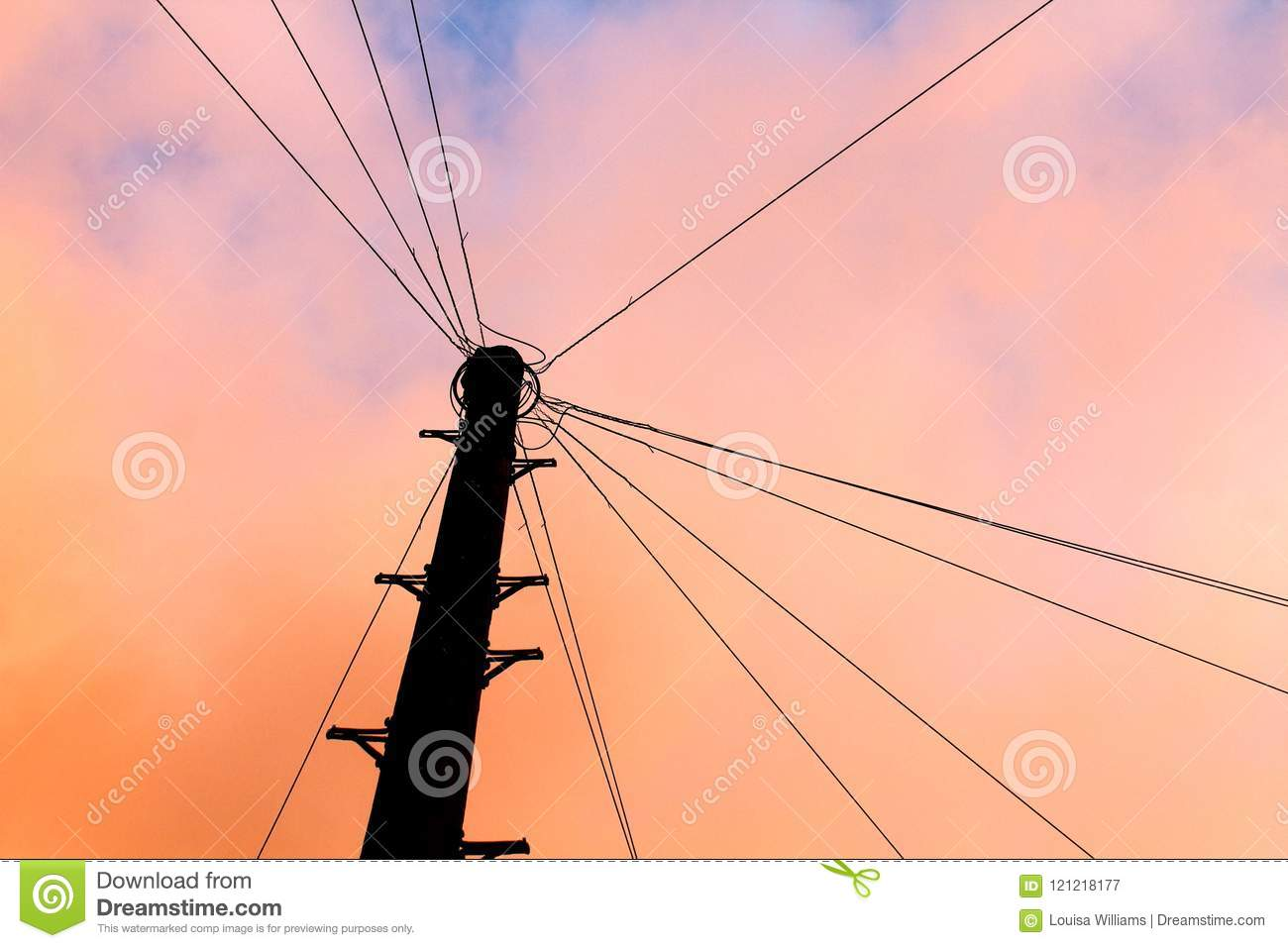 Telegraph Pole Silhouette at Sunset