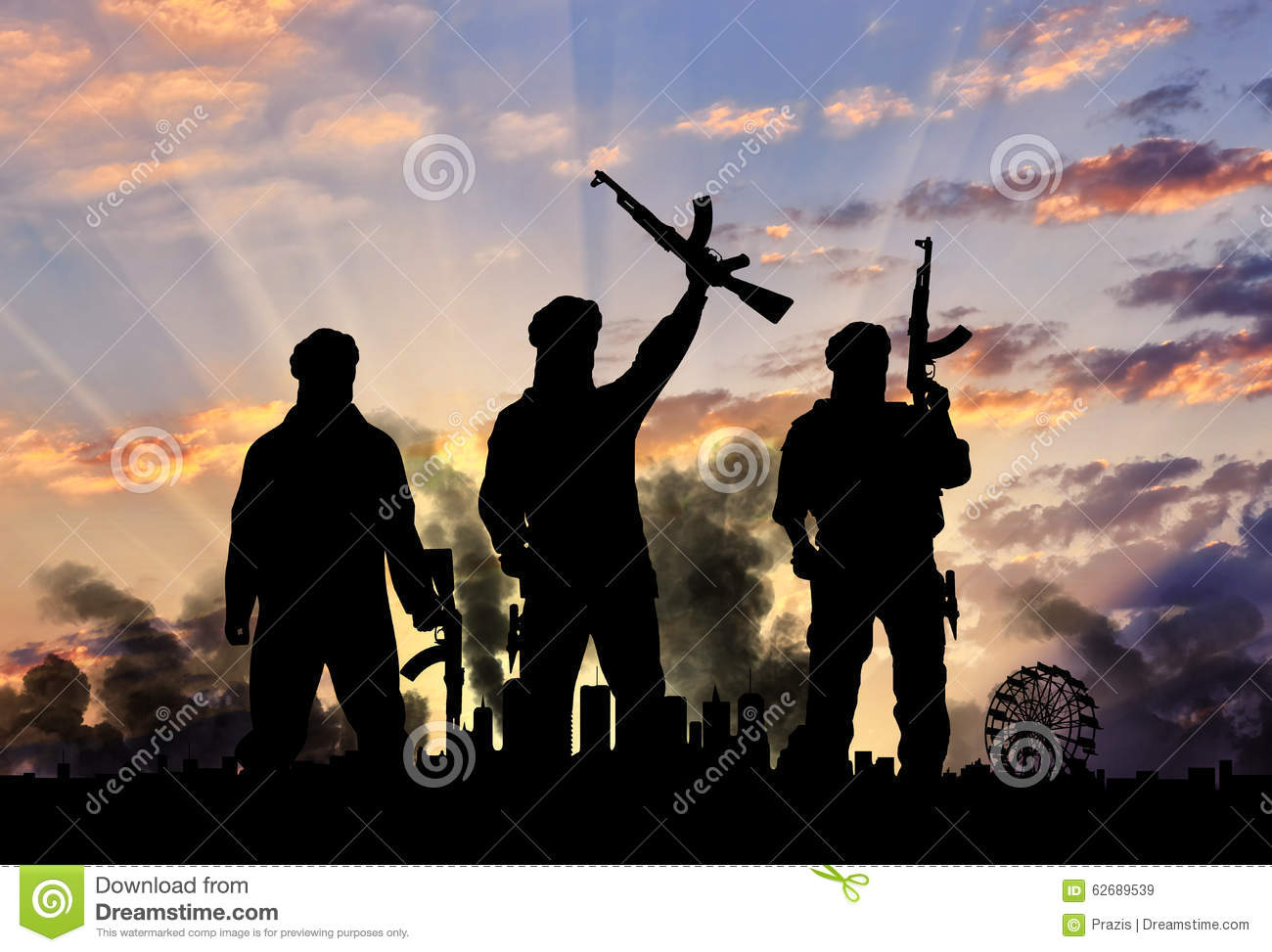 Silhouette of the terrorists and the city
