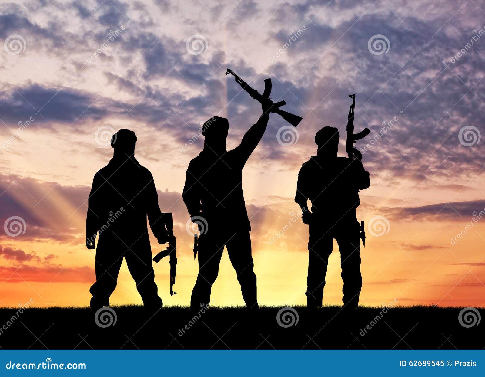 Terrorist Photo: Silhouette Of A Terrorists Stock Image. Image Of Iraq
