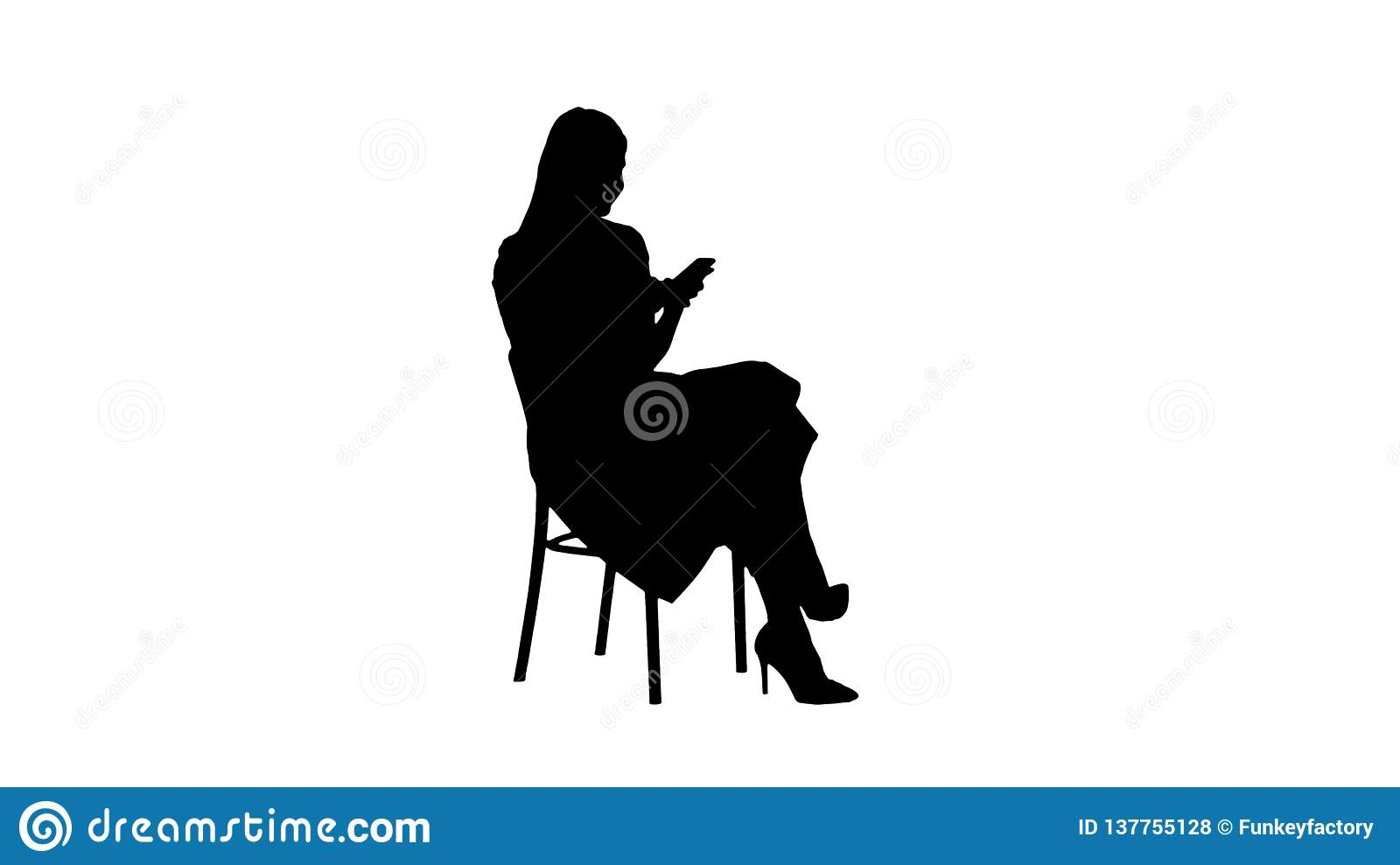 Silhouette Thoughtful woman in pink dress texting on smart phone.