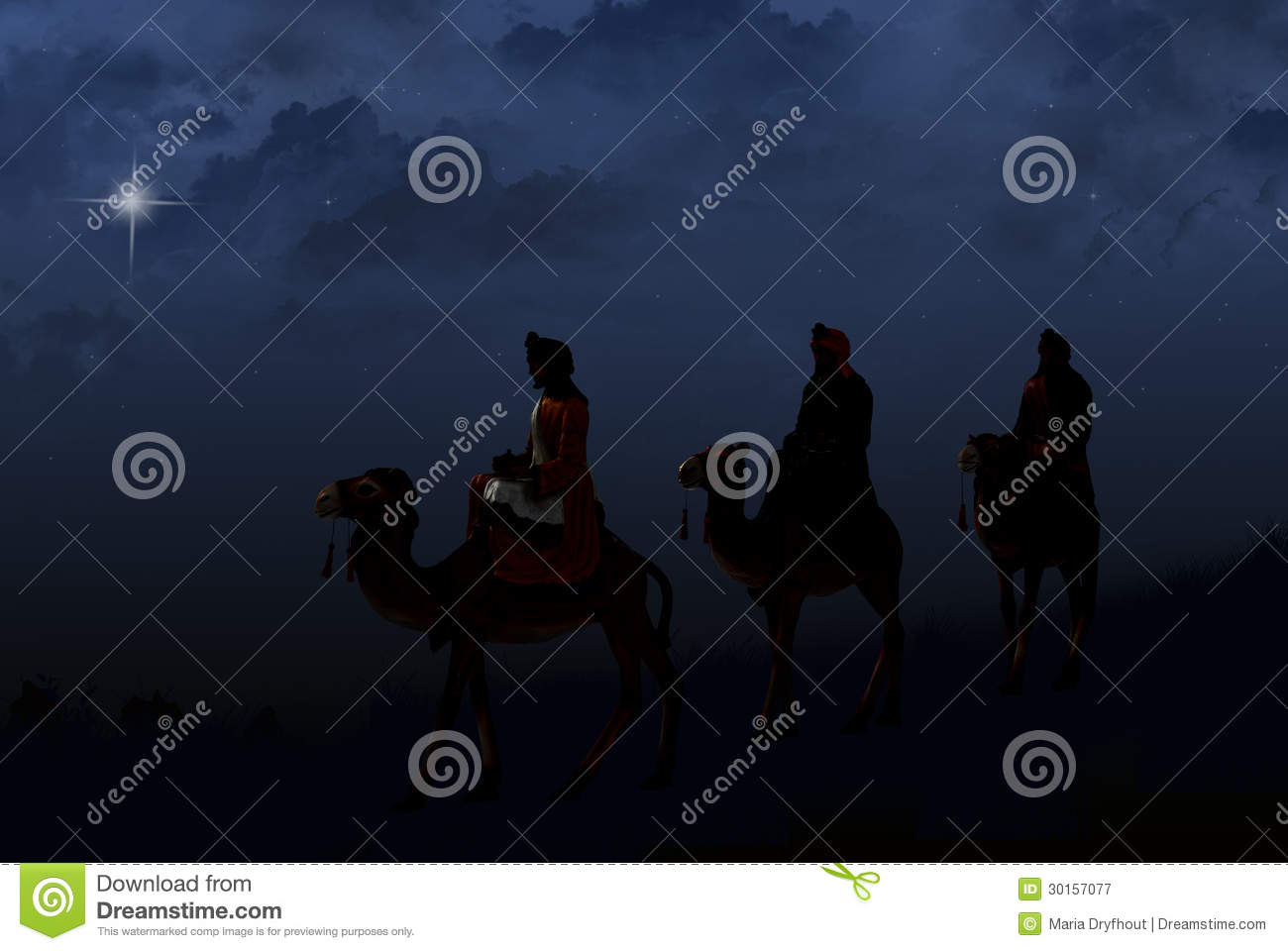 Silhouette of three wise men on camels following a bright star.