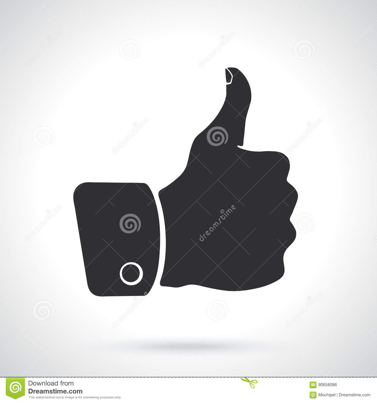 Silhouette Thumb Up Symbol Of Like Stock Vector Illustration Of