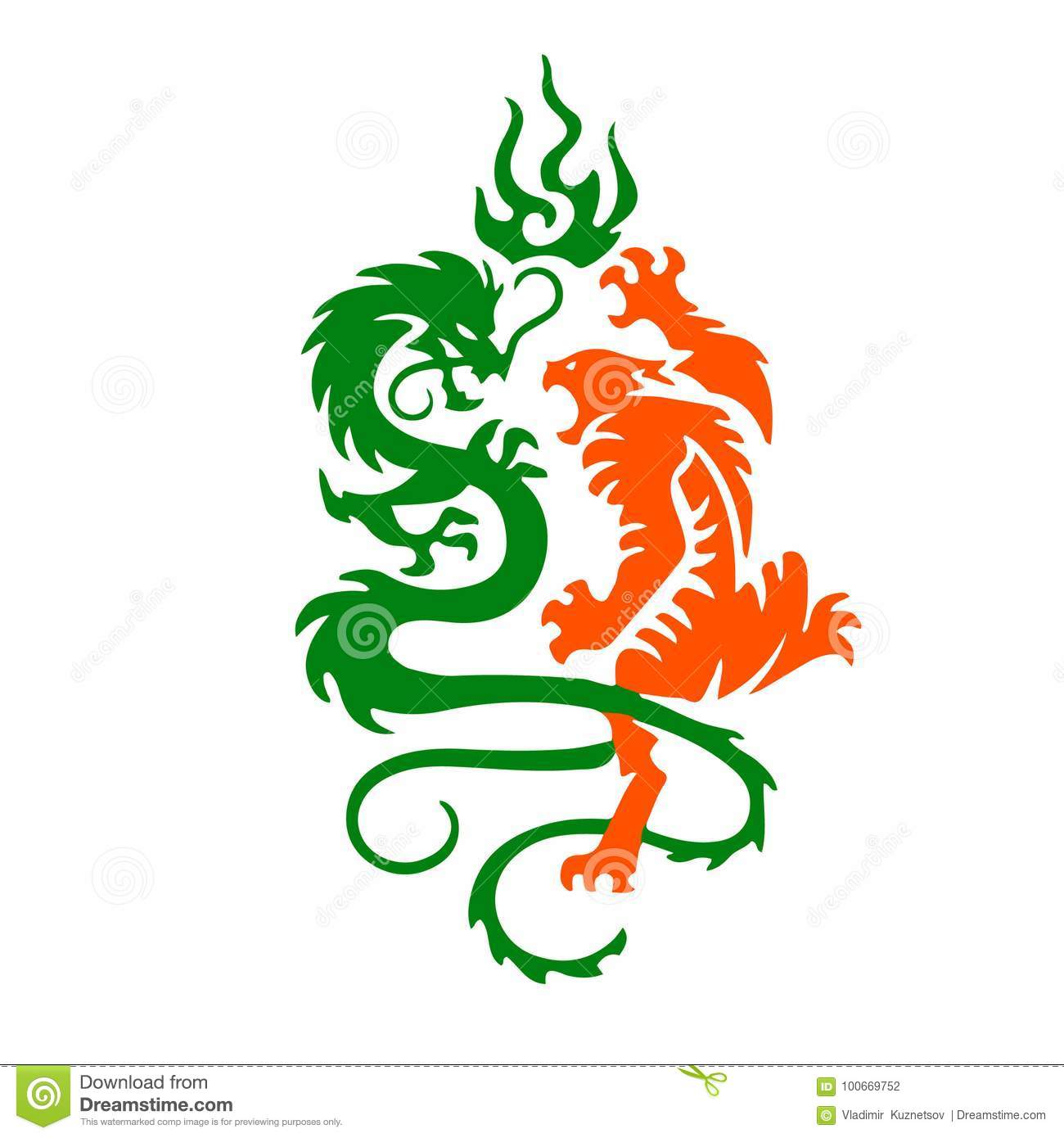 246e4fd3b Silhouette Of A Tiger And Dragon Fight, A Tattoo On A White Back ...