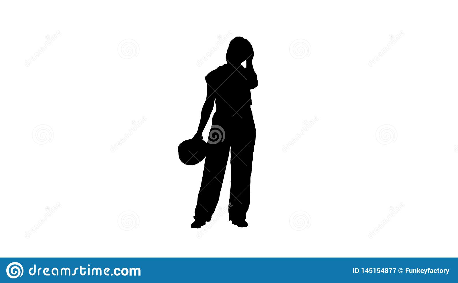 Silhouette Tired woman in construction clothes after hard working day.