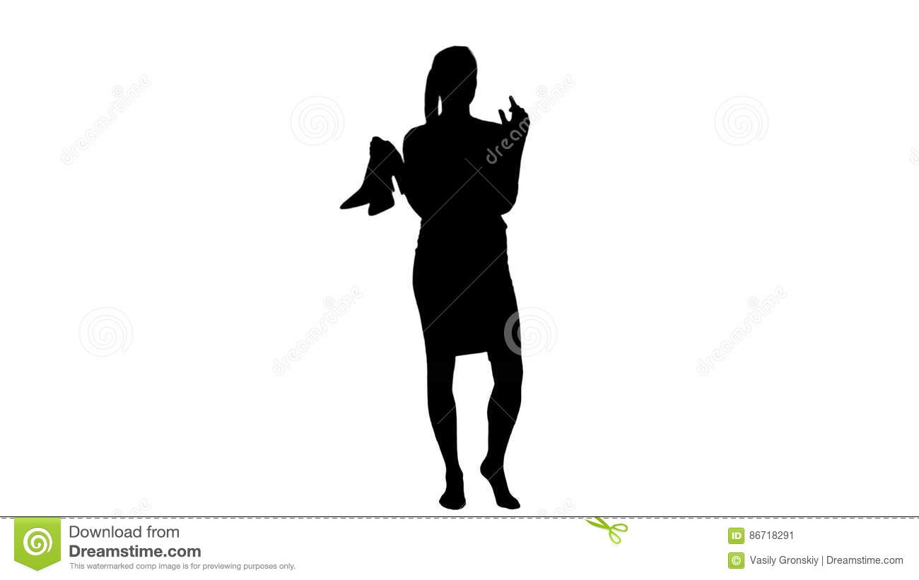 Silhouette tired young businesswoman standing barefoot and holding silhouette tired young businesswoman standing barefoot and holding high heels shoes stock video video of black background 86718291 malvernweather Images