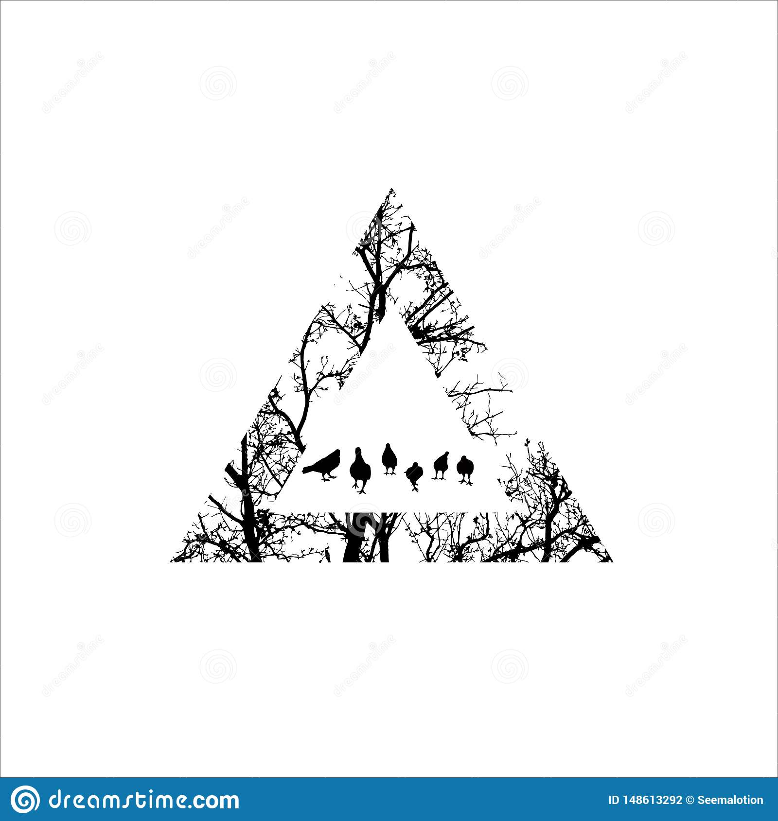 Silhouette Of Tree Branch Tree With Triangle Shape Tattoo Design Stock Vector Illustration Of Pattern Outdoor 148613292