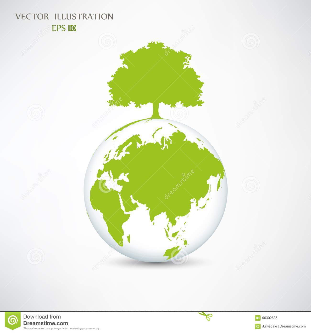 Silhouette Of A Tree On The Globe Stock Vector Illustration Of