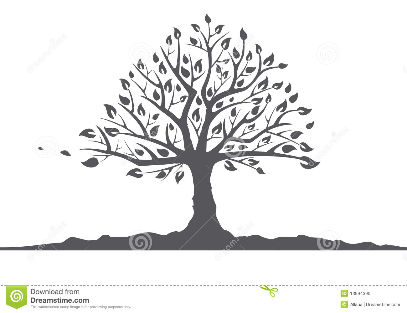 silhouette of a tree with leaves stock vector